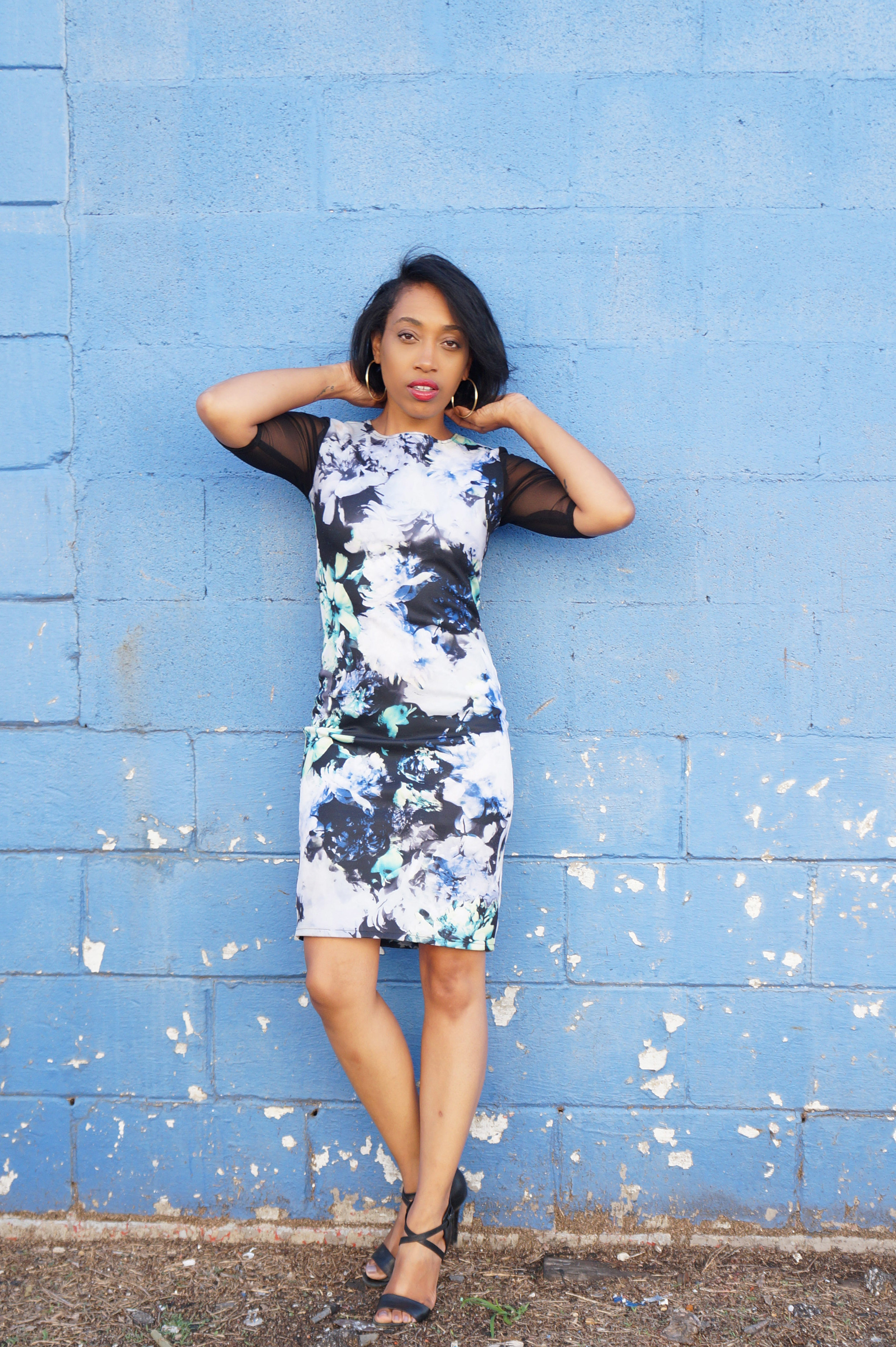 Andrea Fenise Memphis Fashion Blogger shares black and blue mesh floral bodycon dress