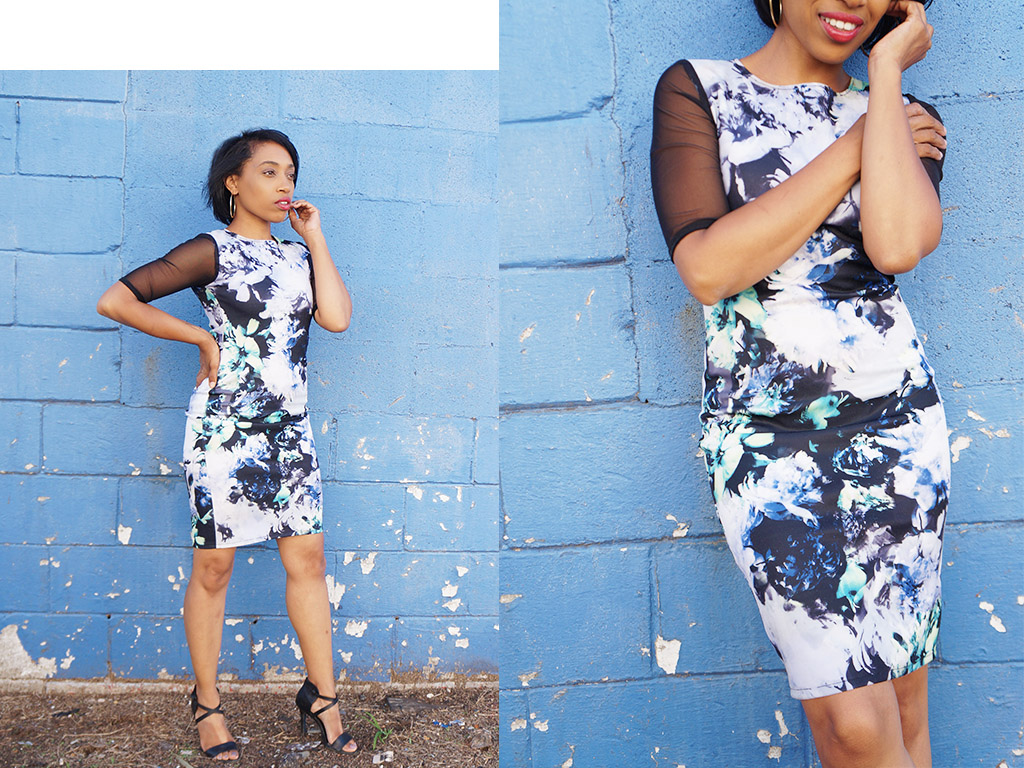 Andrea Fenise Memphis Fashion Blogger shares blue and black floral mesh bodycon dress