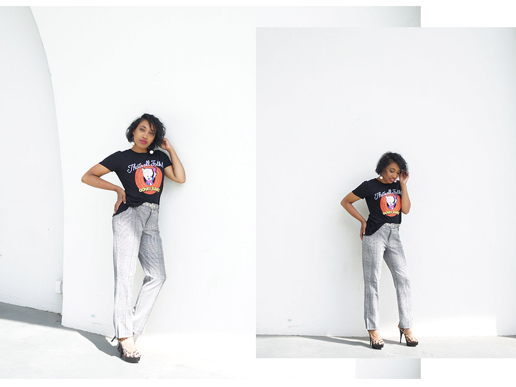 Andrea Fenise Memphis Fashion Blogger styles a graphic tee and windowpane trousers