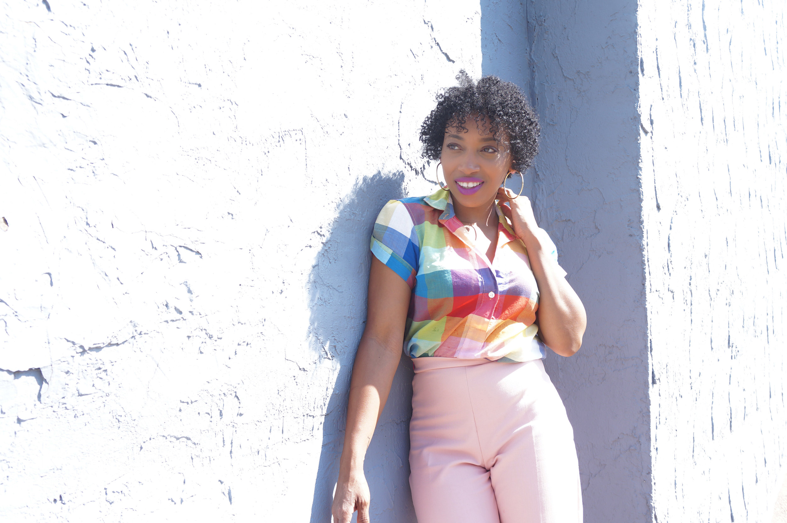 Andrea Fenise Memphis Fashion Blogger styles a J Crew plaid blouse with pink trousers