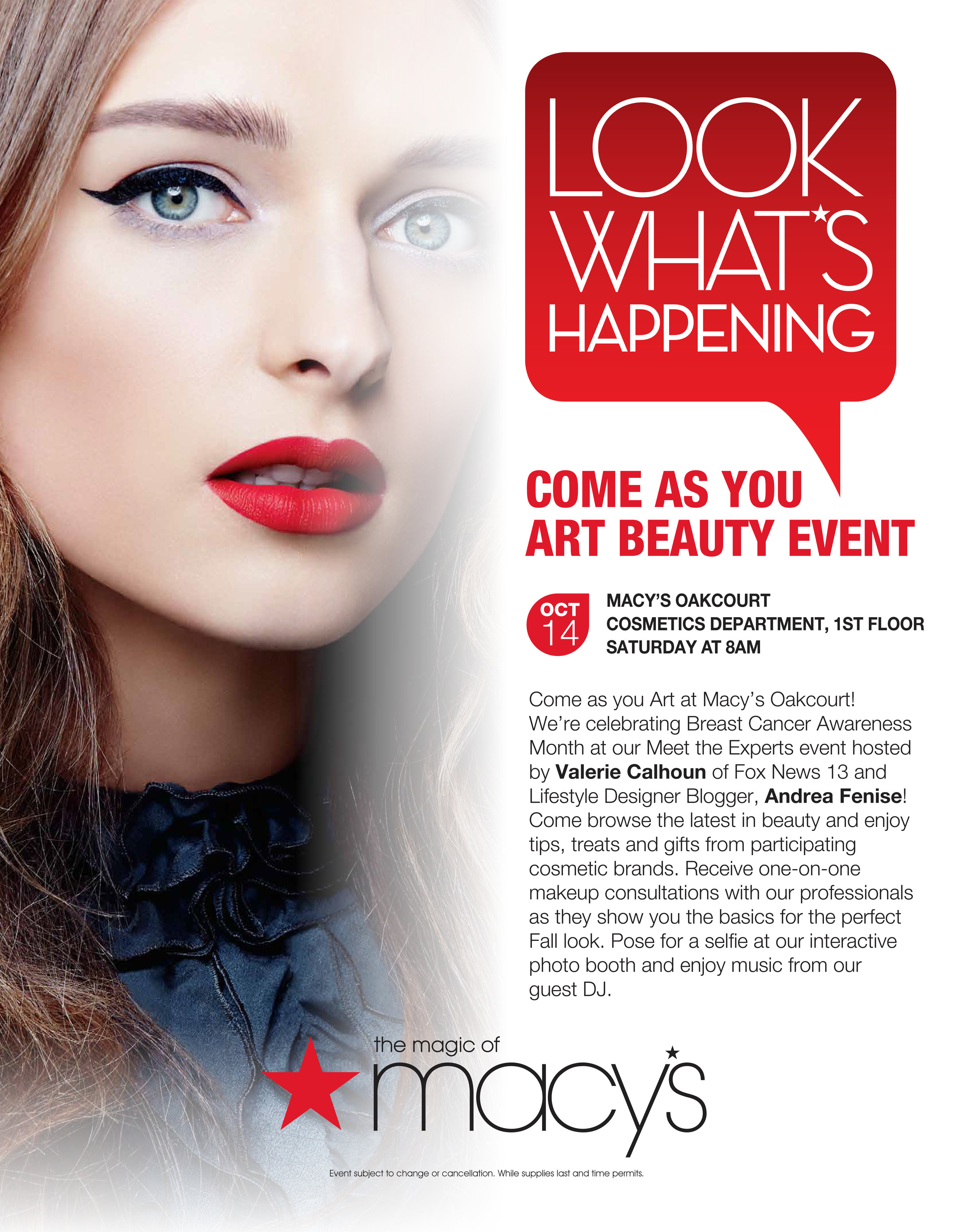 Andrea Fenise Memphis Fashion Blogger hosts Macy's Beauty Event Come As You Art 10.14.17