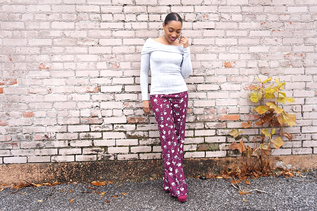 Andrea Fenise Memphis Fashion Blogger shares an outfit inspiration with a floral wide leg pant and off the shoulder sweater