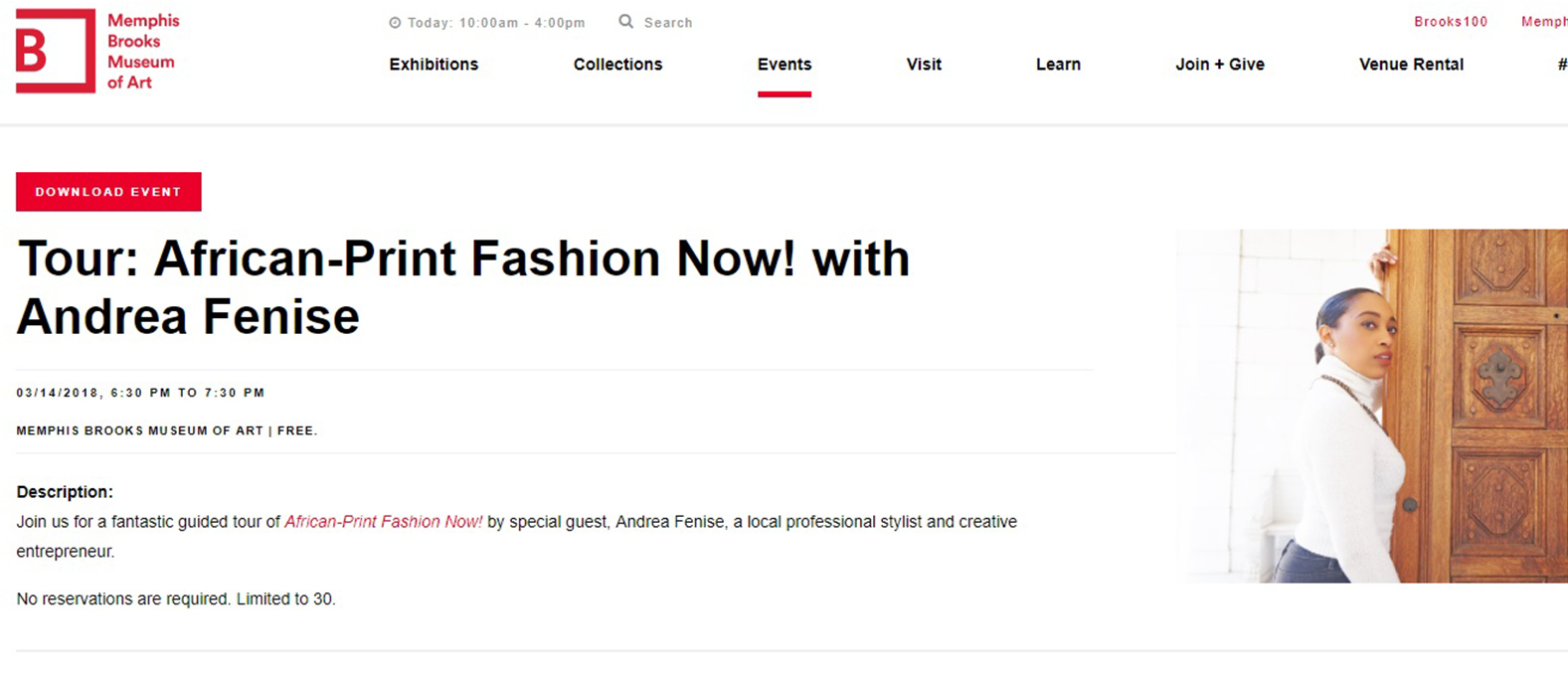Andrea Fenise Memphis Fashion Blogger guides Memphis Brooks Museum of Art African Print Fashion Now