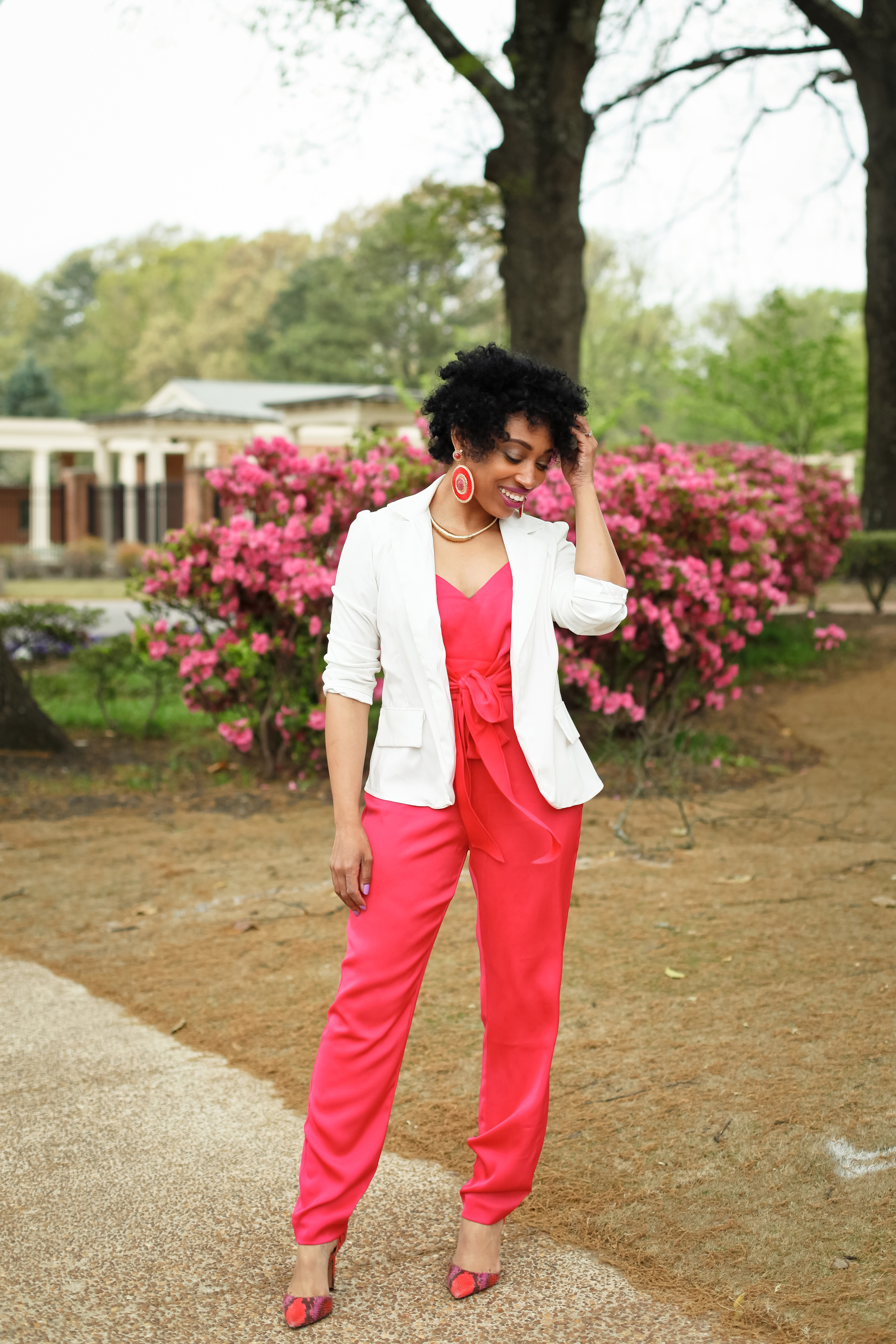 Andrea Fenise Memphis Fashion Blogger styles a white blazer with Rachel Roy Jumpsuit