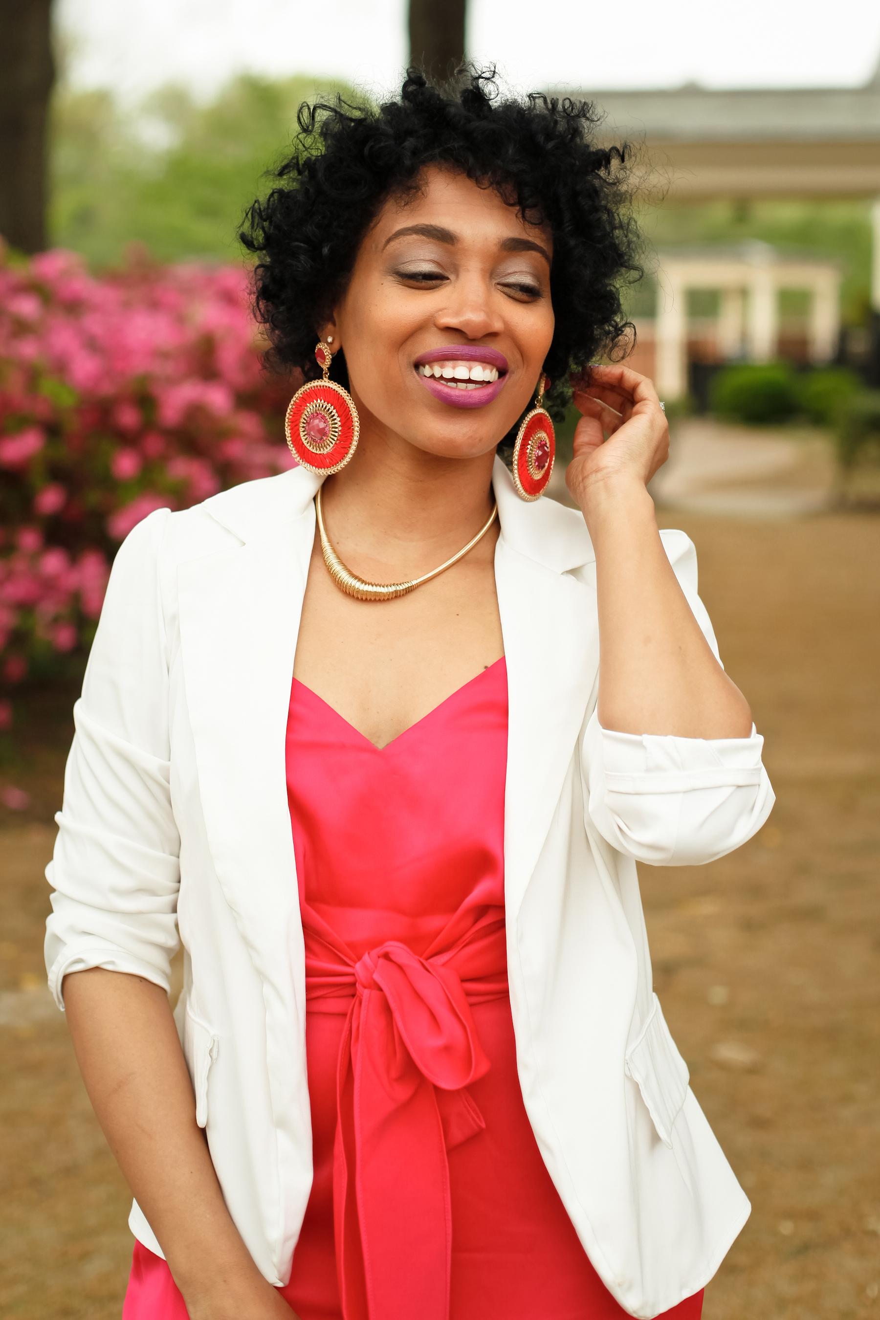 Andrea Fenise Memphis Fashion Blogger styles a white blazer with Rachel Roy Jumpsuit