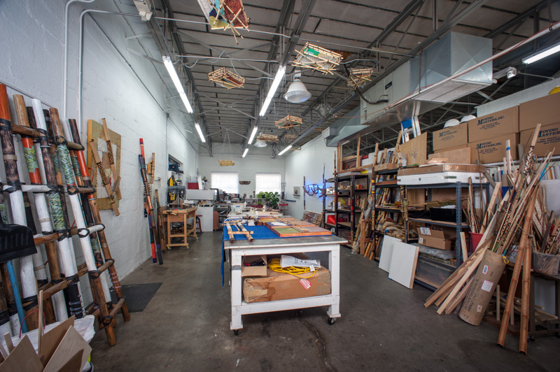 Inside Blue Door Studios, the work space of artist, Alonzo Davis. Photograph by Pete Duvall.