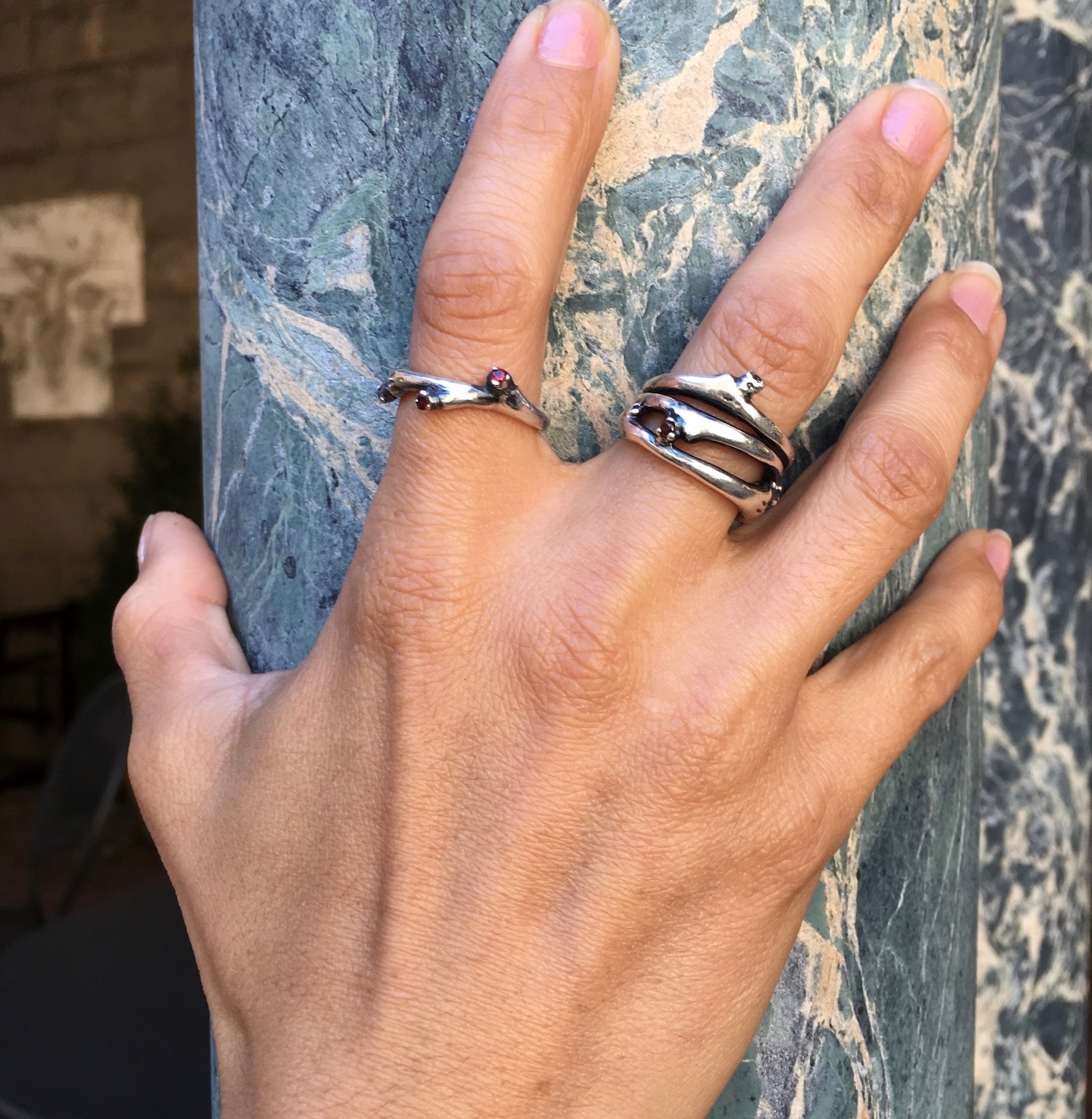 Ramulus Ring - Sterling Silver/Garnet