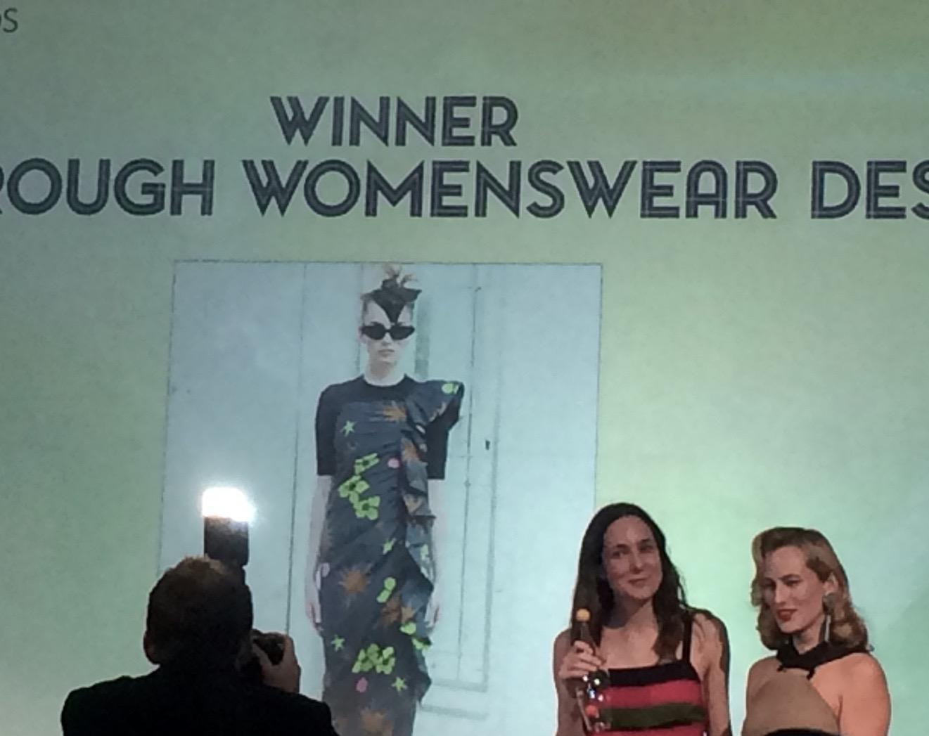 Presentation of best womenswear designer award