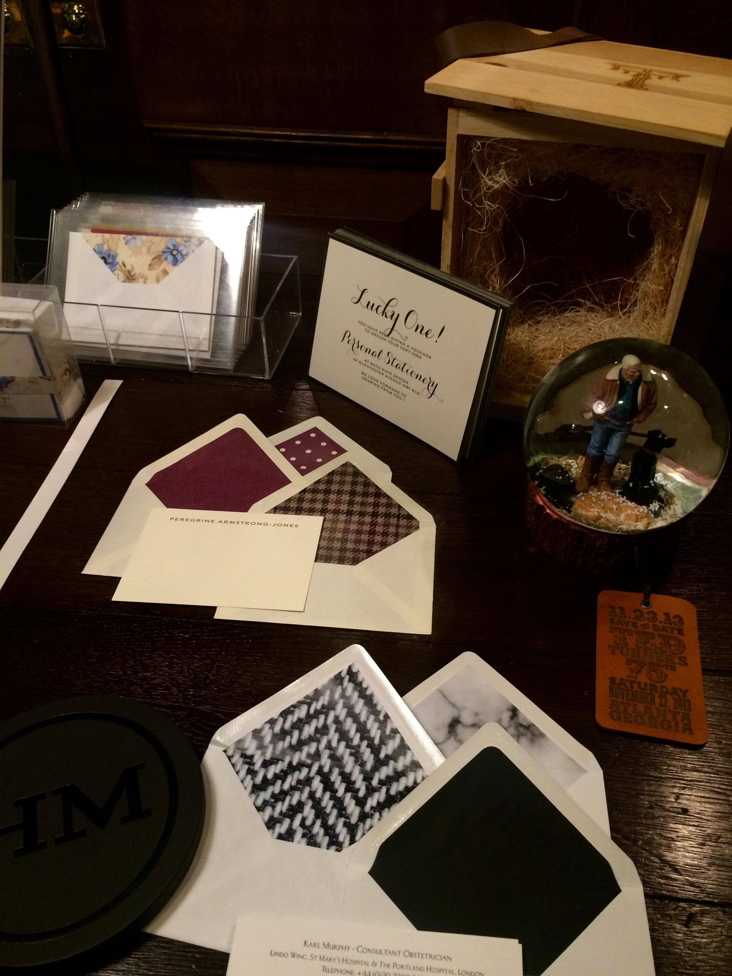 Ruth Kaye stationary and snow globe invitations