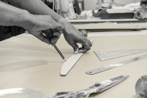 Depending on the client's needs patterns will be adjusted after the fitting. If the client has a bespoke fitting, the process can take several fittings. (Image 100Hands)