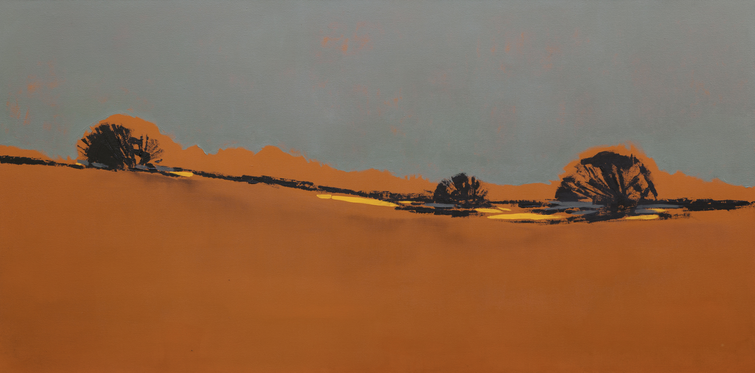 Orange Composition  - 2014 - Oil on canvas - 39 x 79 inches / 100 x 200 cm