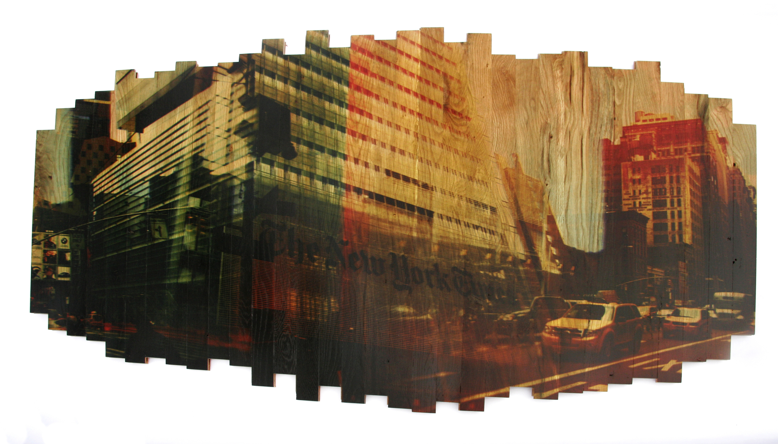 All the News That's Fit to Print,  2013 c print on reclaimed wood floor 48 x 70 x 1.5 in / 122 x 178 x 4 cm  Sold
