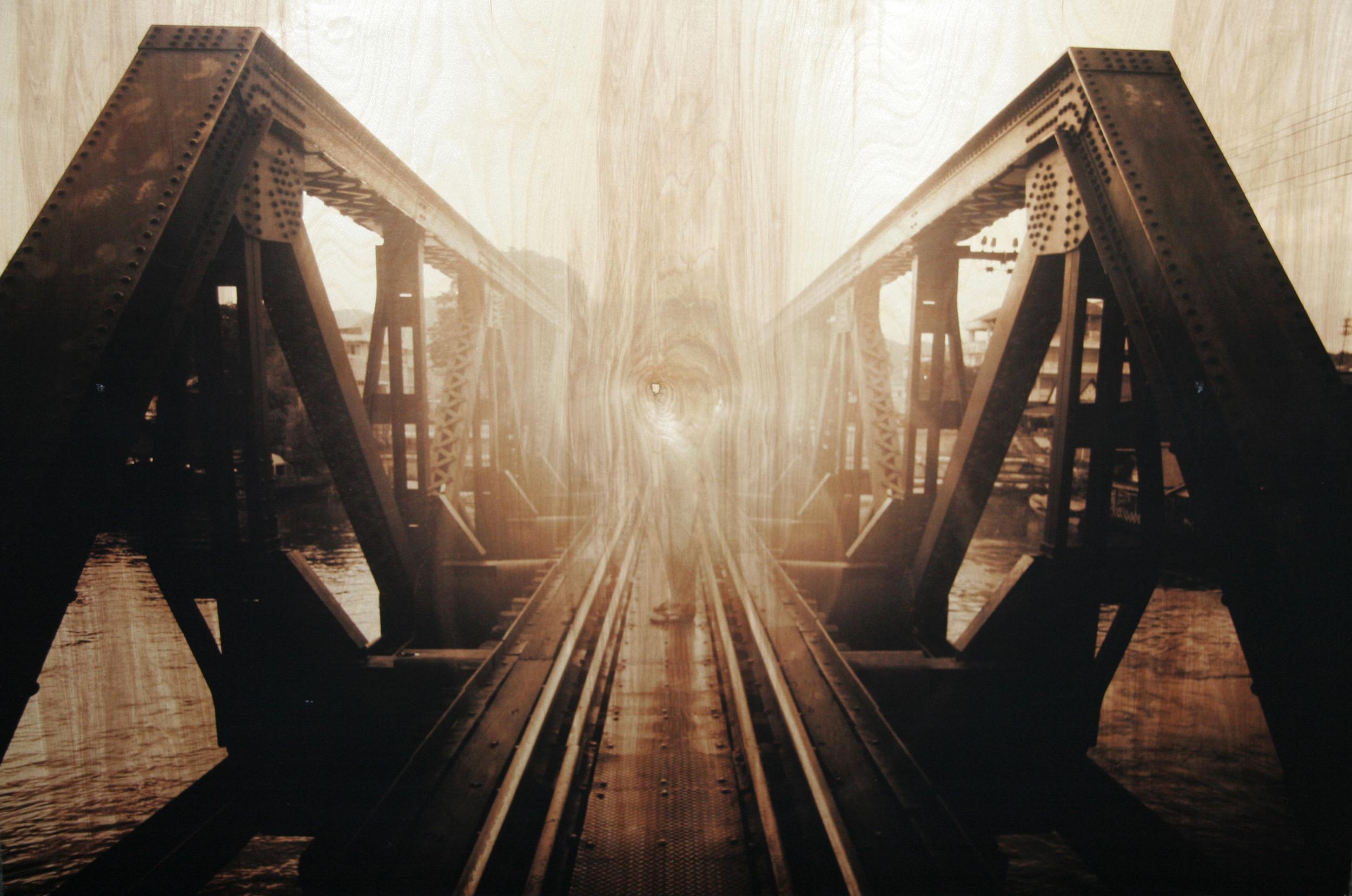 Crossing Bridges, Edition of 12,  2013 - 2015 c print on reclaimed wood floor 32 x 48 x 1.5 in / 81 x 122 x 4 cm