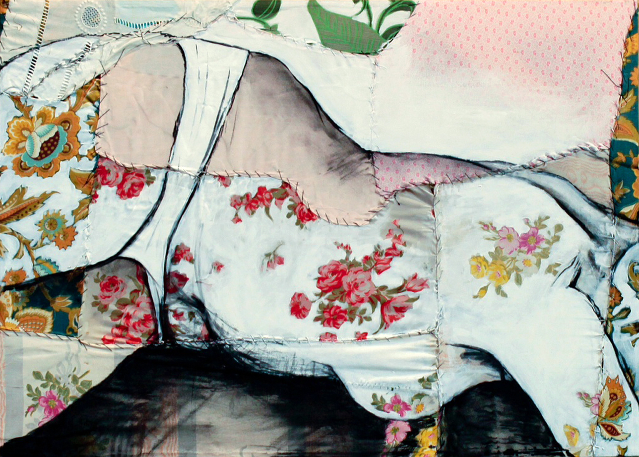 """Lea VI  - Fabric, sheets, stitching, charcoal, mixed media on canvas - 20"""" x28"""" / 50 x 70 cm"""