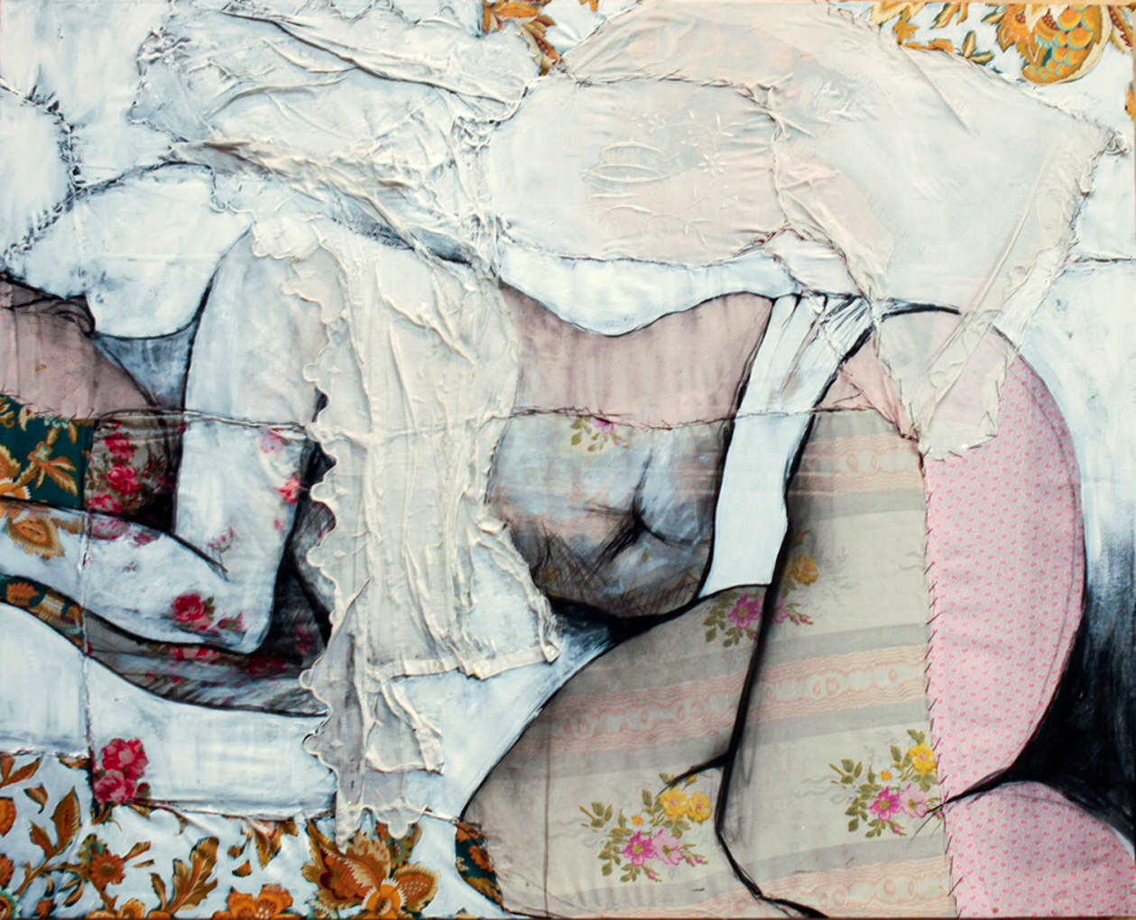 "Lea II  - Fabric, sheets, stitching, charcoal, mixed media on canvas - 32"" x39"" / 80 x 100 cm"