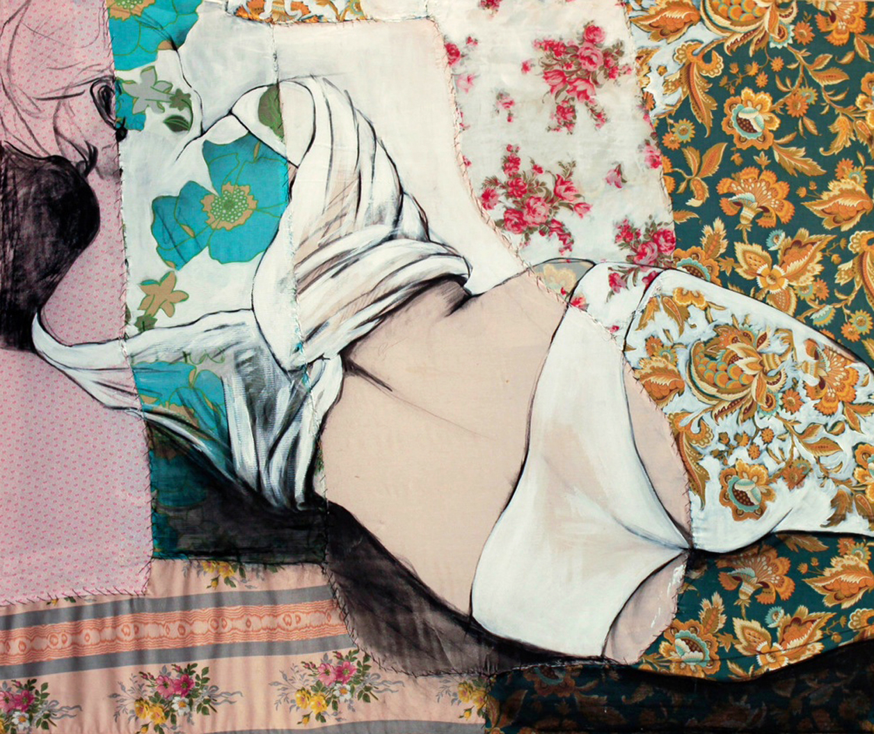 """Lea I  - Fabric, sheets, stitching, charcoal, mixed media on canvas - 39"""" x 47"""" /100 x 120 cm - SOLD"""