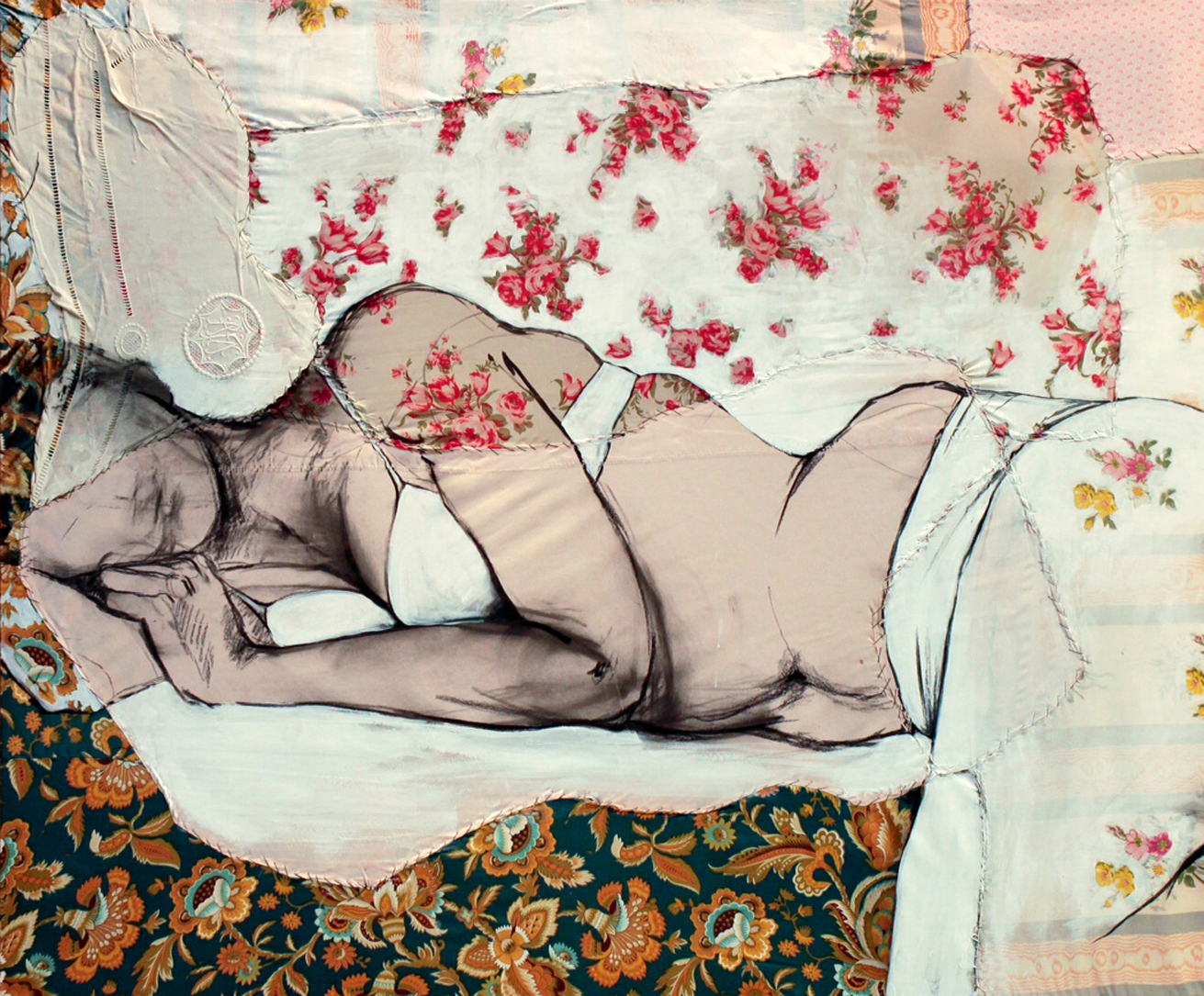 """Lea V  - Fabric, sheets, stitching, charcoal, mixed media on canvas - 39"""" x47"""" / 100 x 120 cm"""