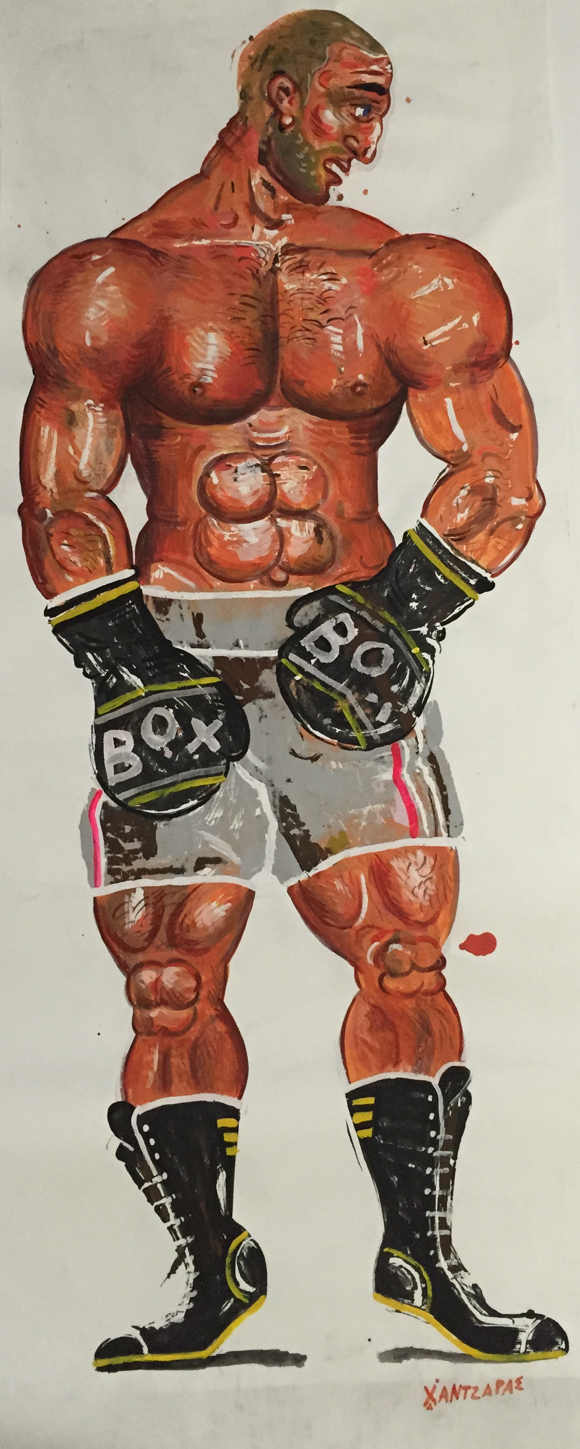 """Boxer #1 Acrylic on paper Approx size of artwork: 31"""" x 83"""" / 80 x 210 cm"""