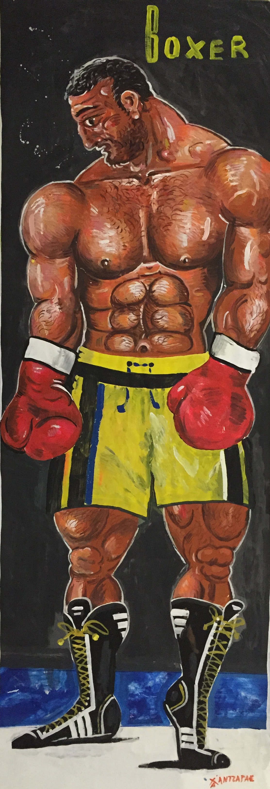 """Boxer #4 Acrylic on paper Approx size of artwork: 31"""" x 83"""" / 80 x 210 cm"""