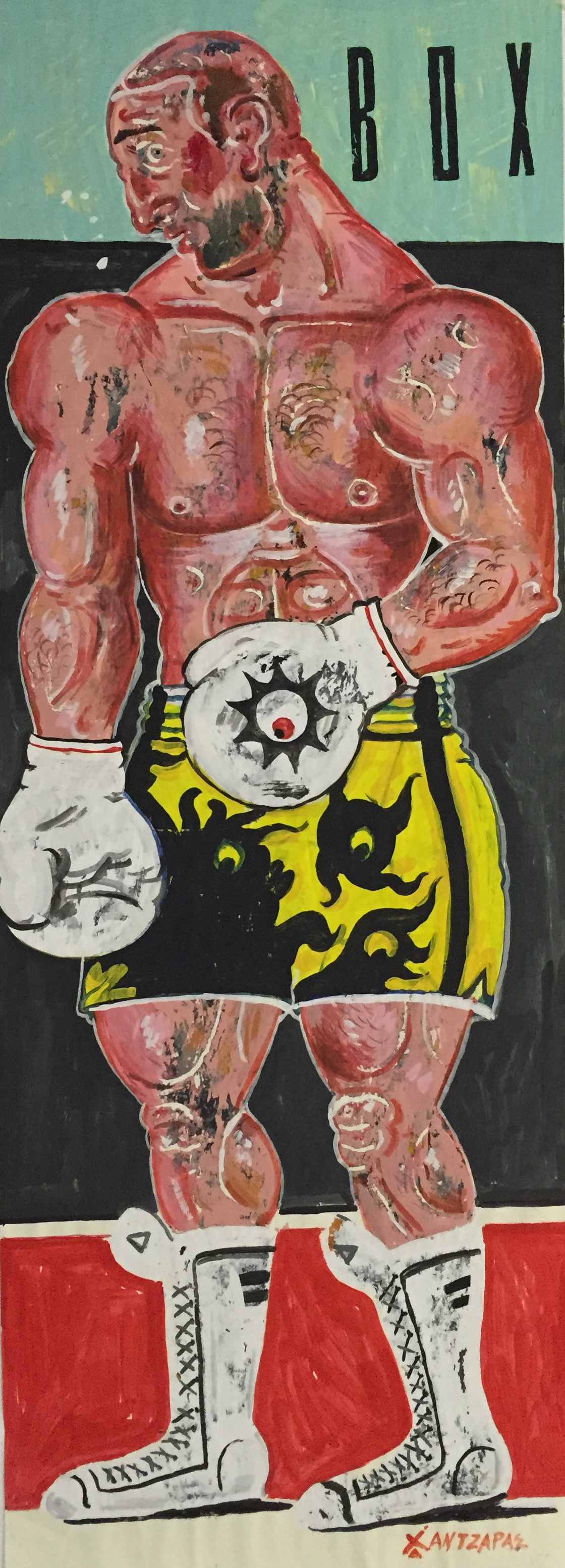 """Boxer #2 Acrylic on paper Approx size of artwork: 28"""" x 79"""" / 70 x 200 cm"""