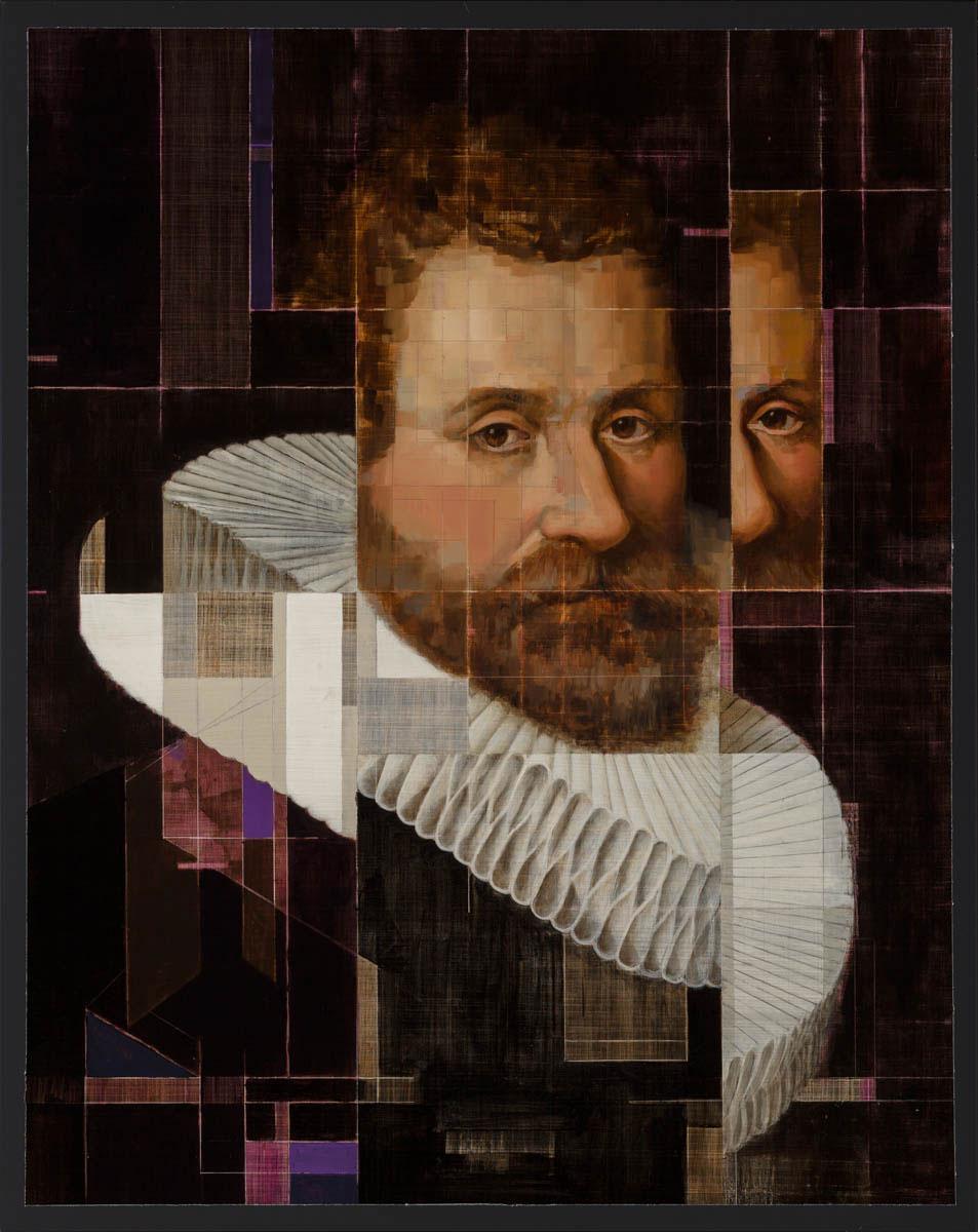 17th Century Gentleman with Matrix - 2015 - Oil on black galvanized metal - 34x27 in. / 86x69 cm.