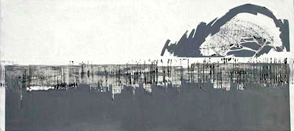 Patagonia Gris y Blanco  – Oil on canvas – 36 x 78 inches / 90 x 200 cm (framed - silhouette aluminium)
