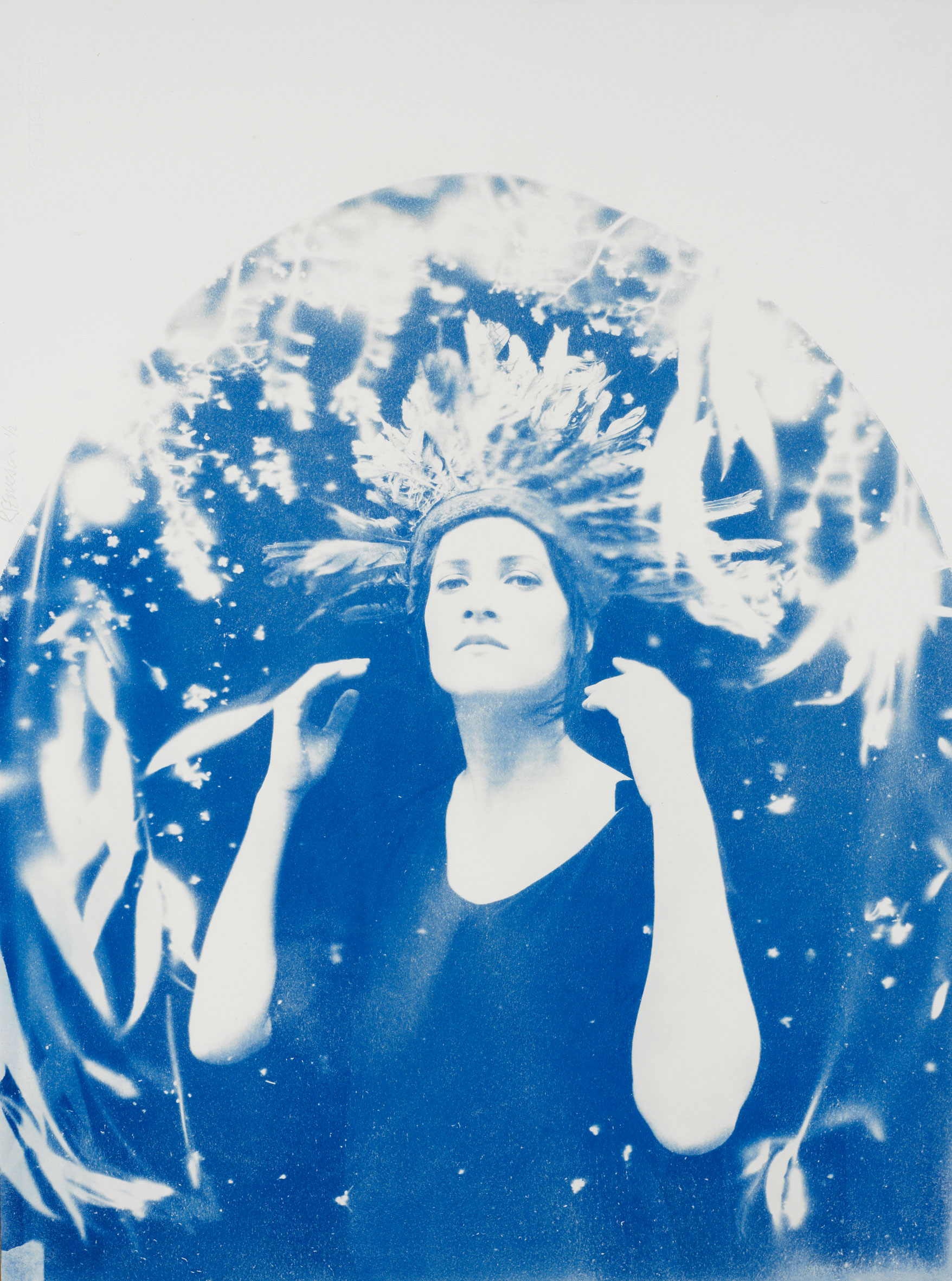 Lena  - 2015 - Unique Edition, 1 of 2 Cyanotype on paper, framed Artwork: 30 x 22 inches / 75 x 55 cm