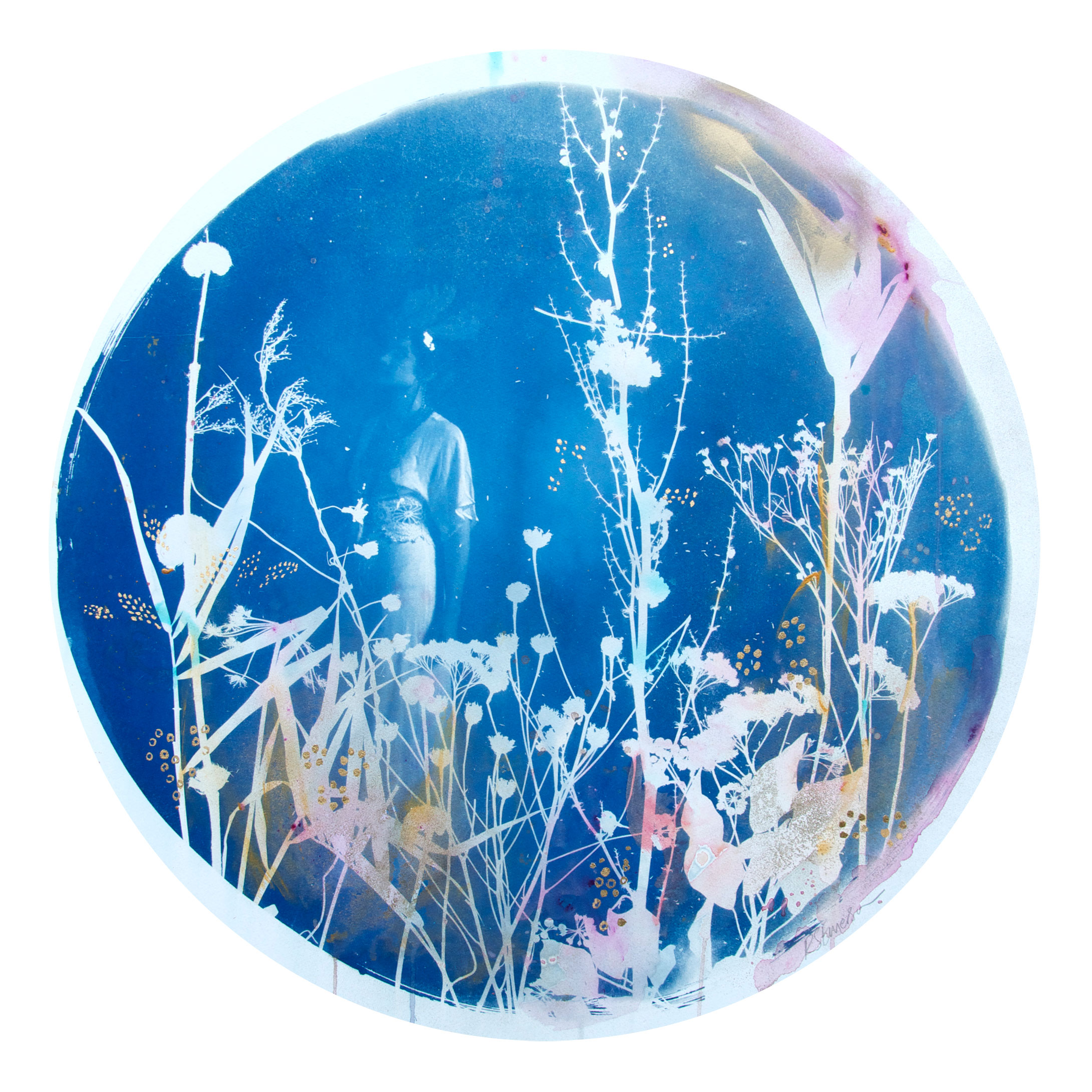 Under the Harvest Moon  - 2015 - Original hand painted Cyanotype on Somerset Satin 300 gram printmaking paper, bespoke circular white frame with convex dome Artwork: 30 inches / 70 cm diameter