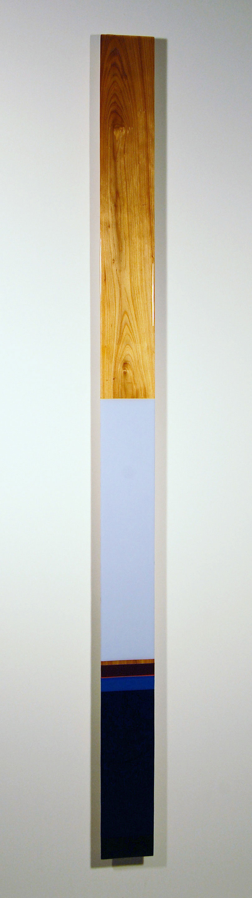 "Leaner L3  - Acrylic, Cypress, select pine, and UV resin - Dimension: 76"" x 5.5"" x 2"" / 193 x 14 x 6 cm"
