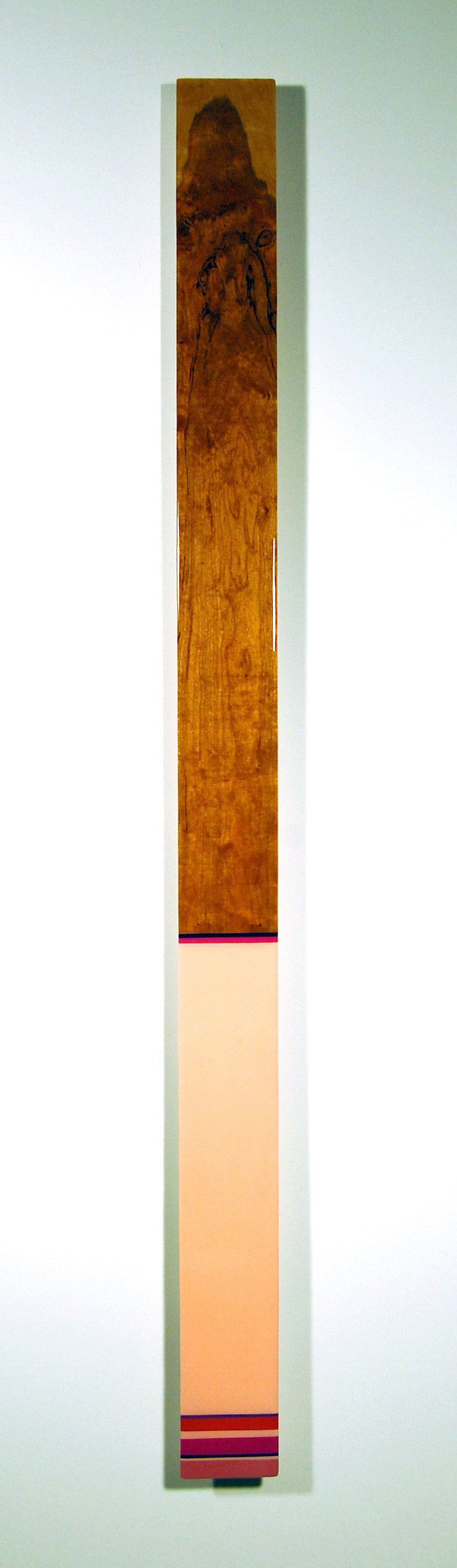 "Leaner L6  - Acrylic, Cherry, select pine, and UV resin - Dim: 82"" x 4.5"" x 2"" / 208 x 11 x 6 cm"