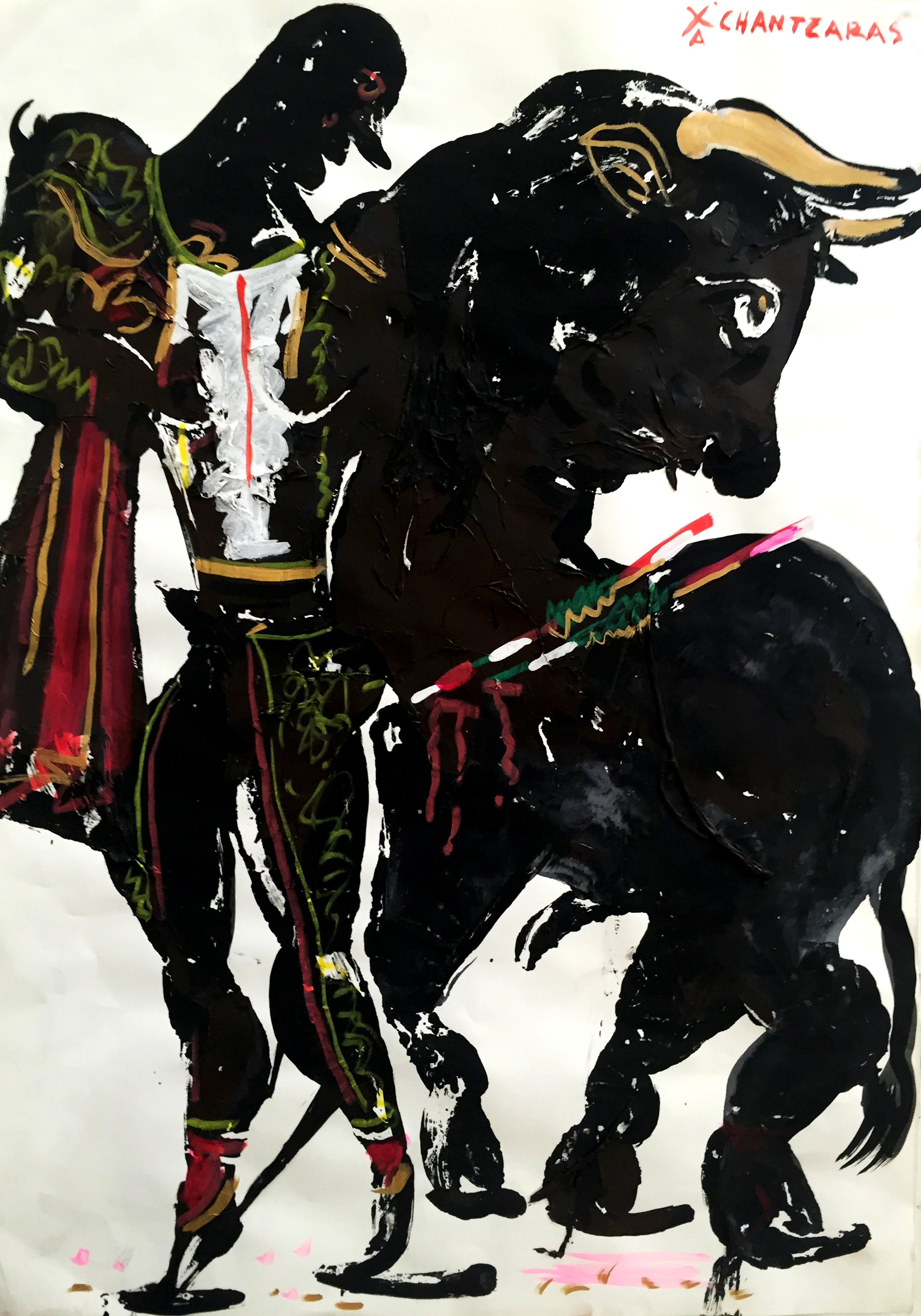 """The Battle Waltz, """"Hero""""  Series Acrylic and mixed media on paper, Unique Artwork: 23"""" x 17"""" / 58 x 43 cm"""