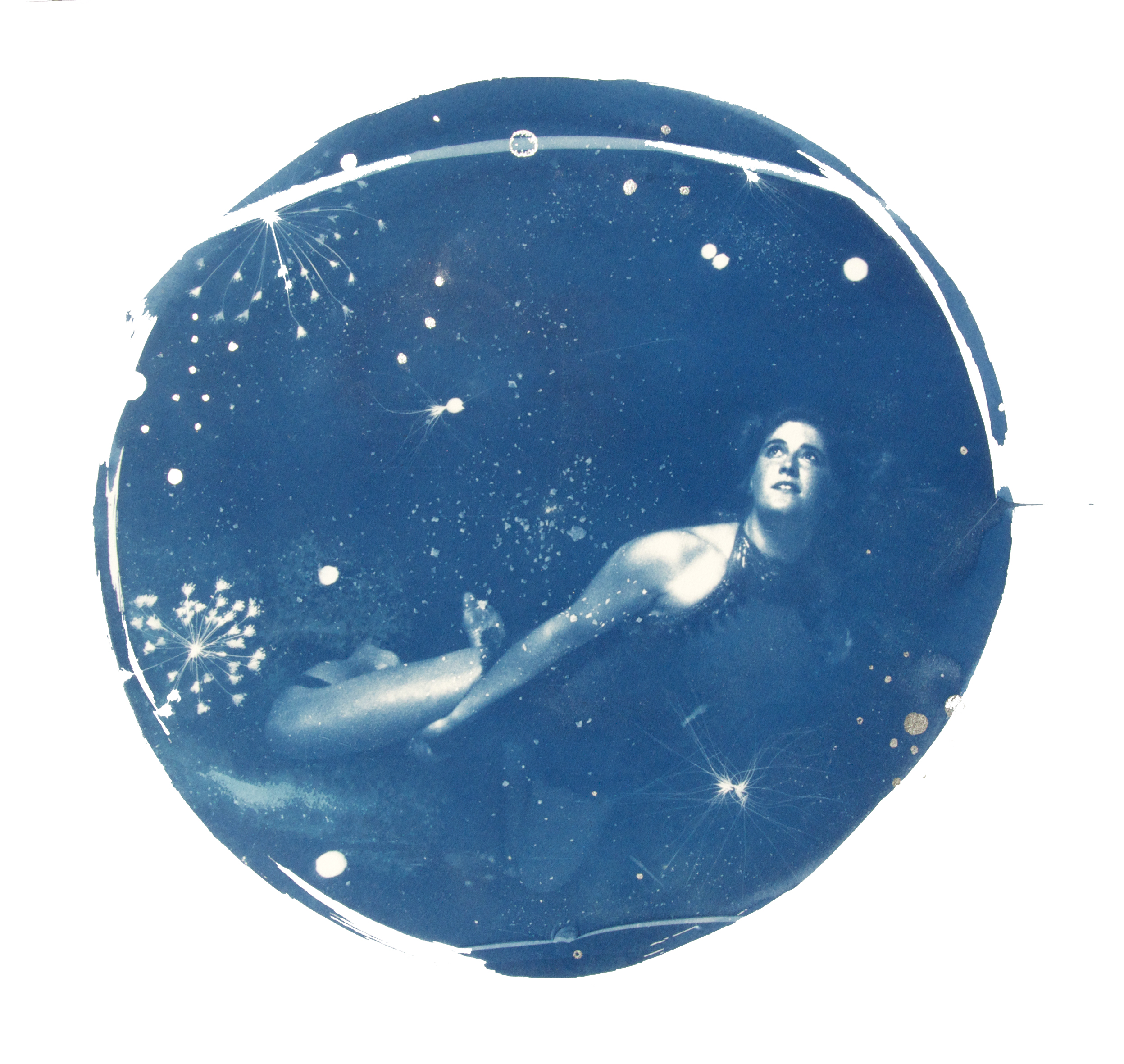 "Hydra , Cyanotype with silver leaf on Somerset Satin 300 gram paper bespoke circular white frame Artwork: 30"" / 70 cm diameter"