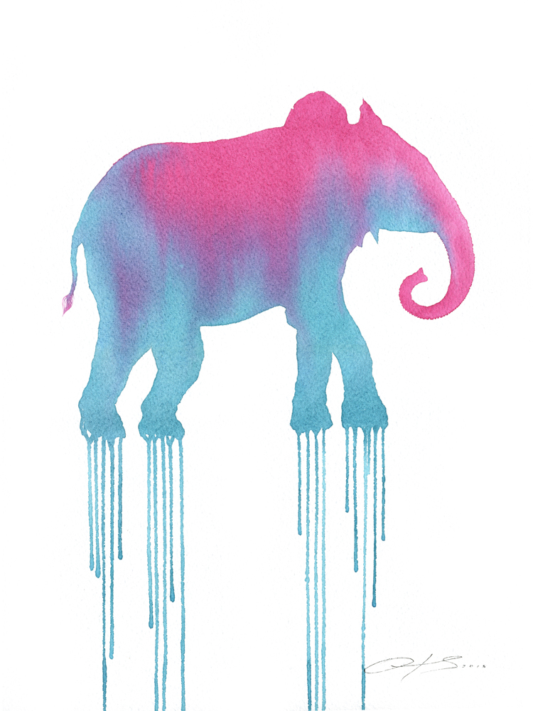 The Pinky Elephant  - 2016, watercolour on paper, framed - 16 x 12 inches / 40 x 30cm