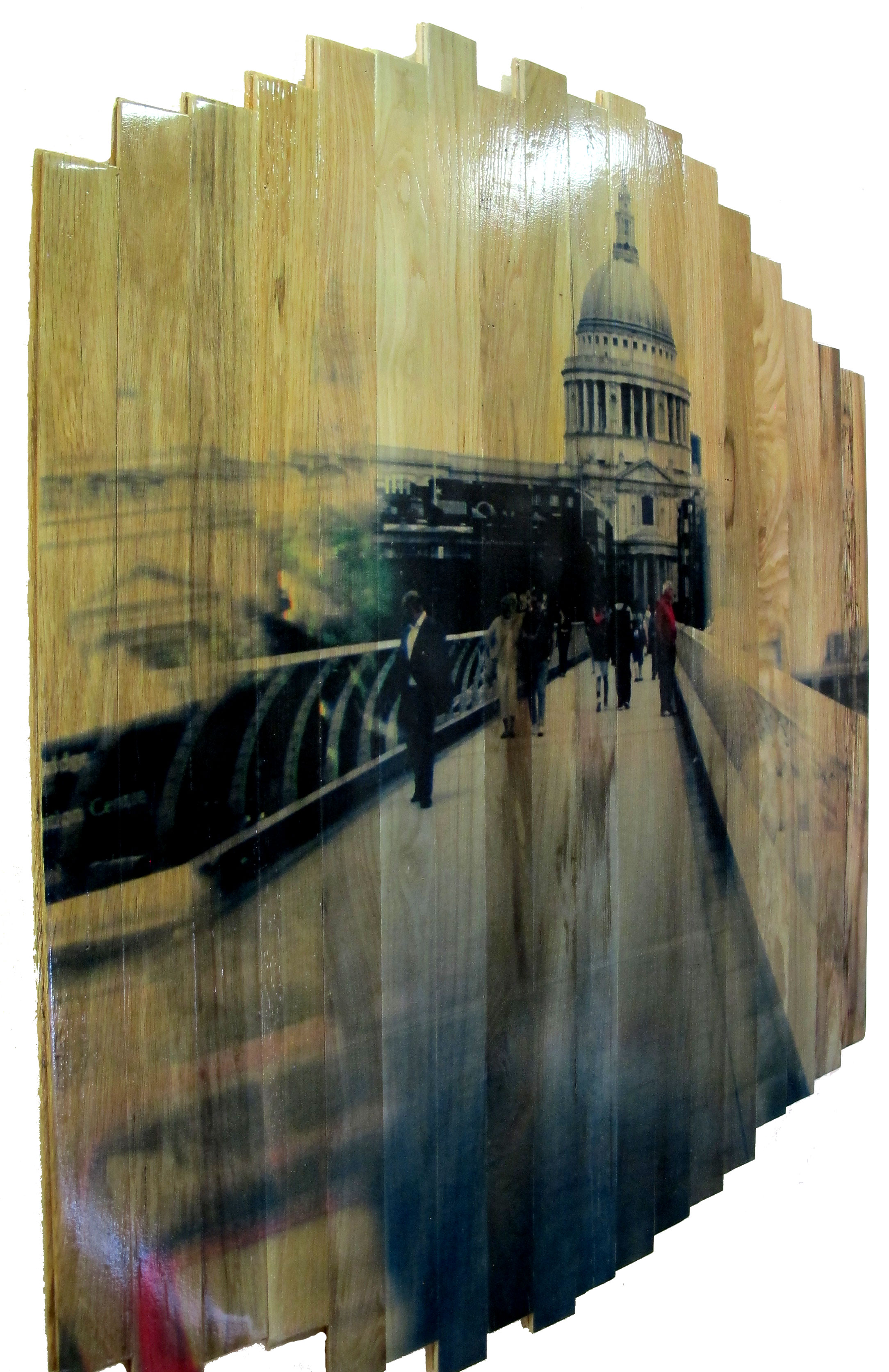 St. Paul's View,  2016 c print on reclaimed wood floor 48 x 41 x 1.5 in / 122 x 105 x 4 cm  Unique