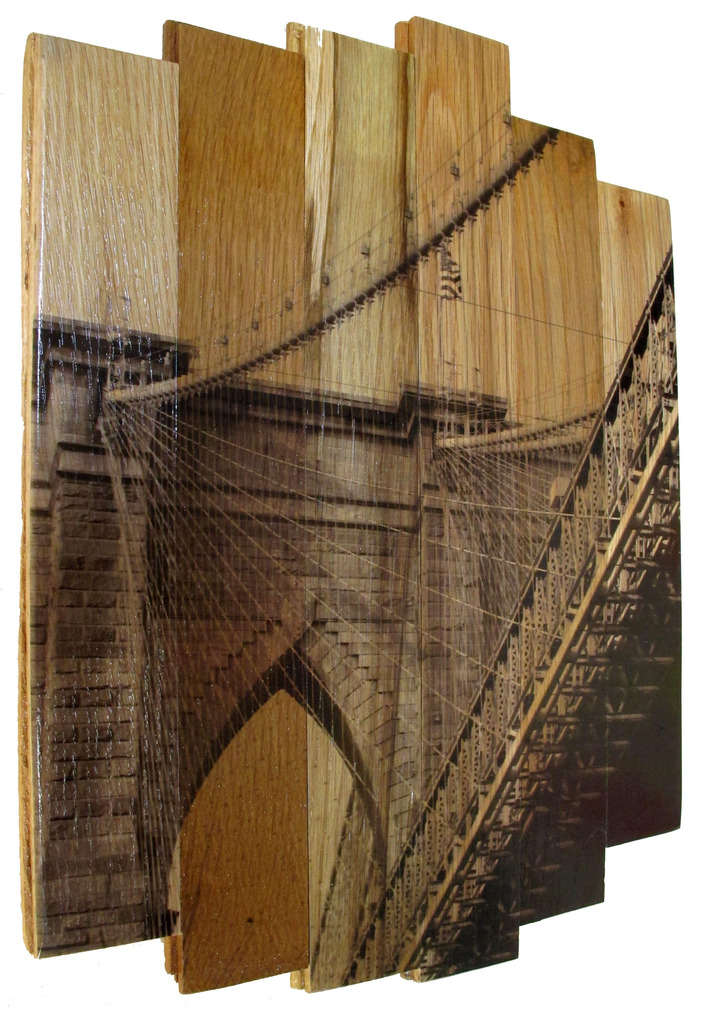 Brooklyn Bridge II,  2016 c print on reclaimed wood floor 17 x 14 x 1.5 in / 43 x 35.5 x 4 cm  Unique