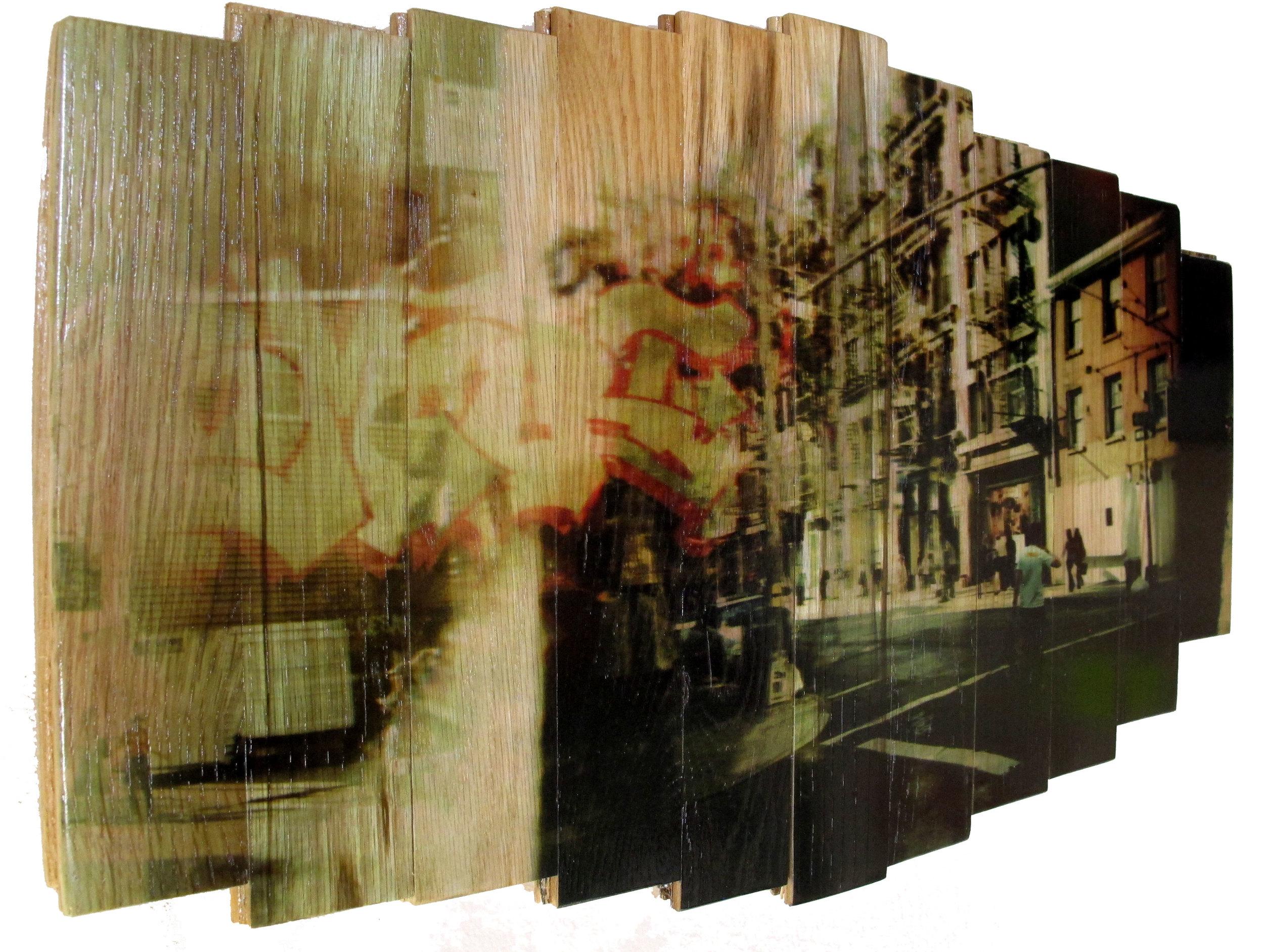 Wooster Street,  2016 c print on reclaimed wood floor 16 x 25.5 x 1.5 in / 41 x 65 x 4 cm  Unique