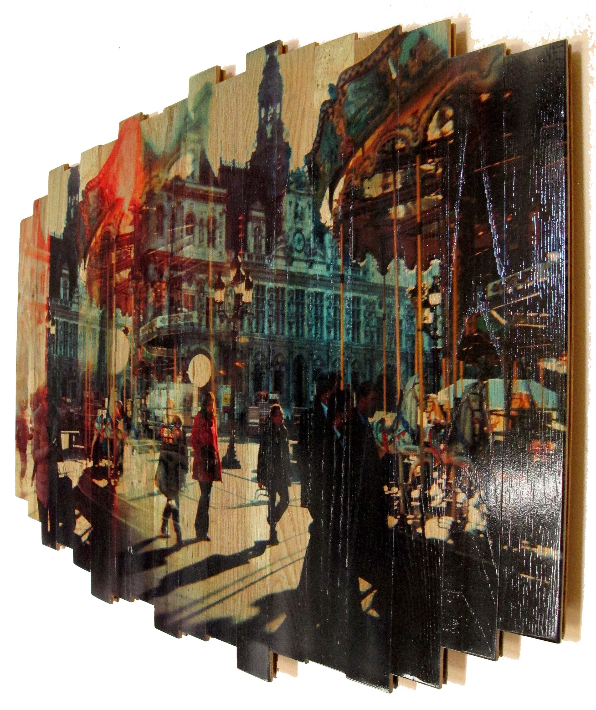 Paris Carousel I , 2016 c print on reclaimed wood floor 29.92 x 41.34 x 1.57 in / 76x105 cm  Unique