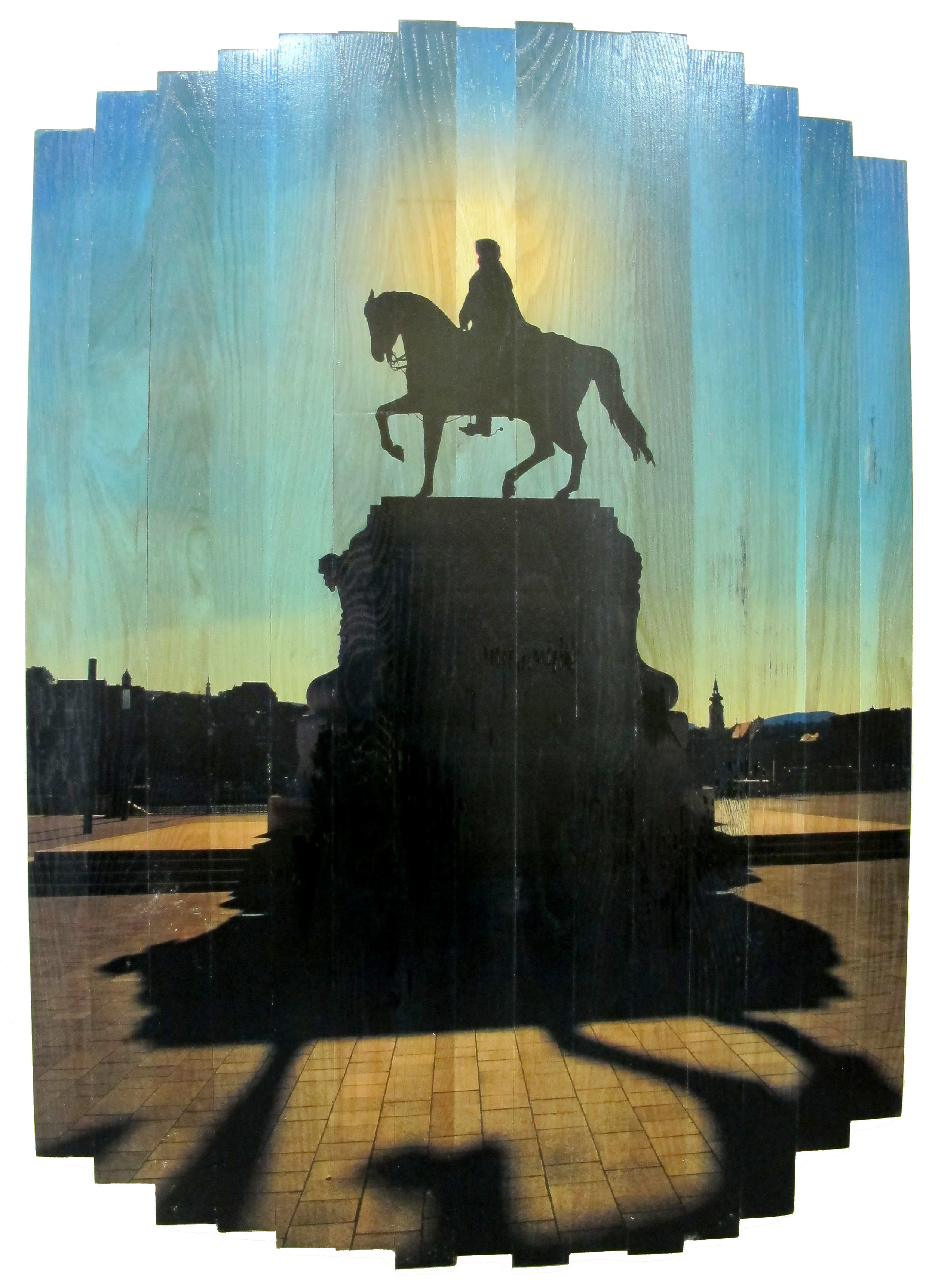 The Emperor - Ferdinand,  2016 c print on reclaimed wood floor 48 x 34 x 1.5 in / 122 x 86 x 4 cm  Unique