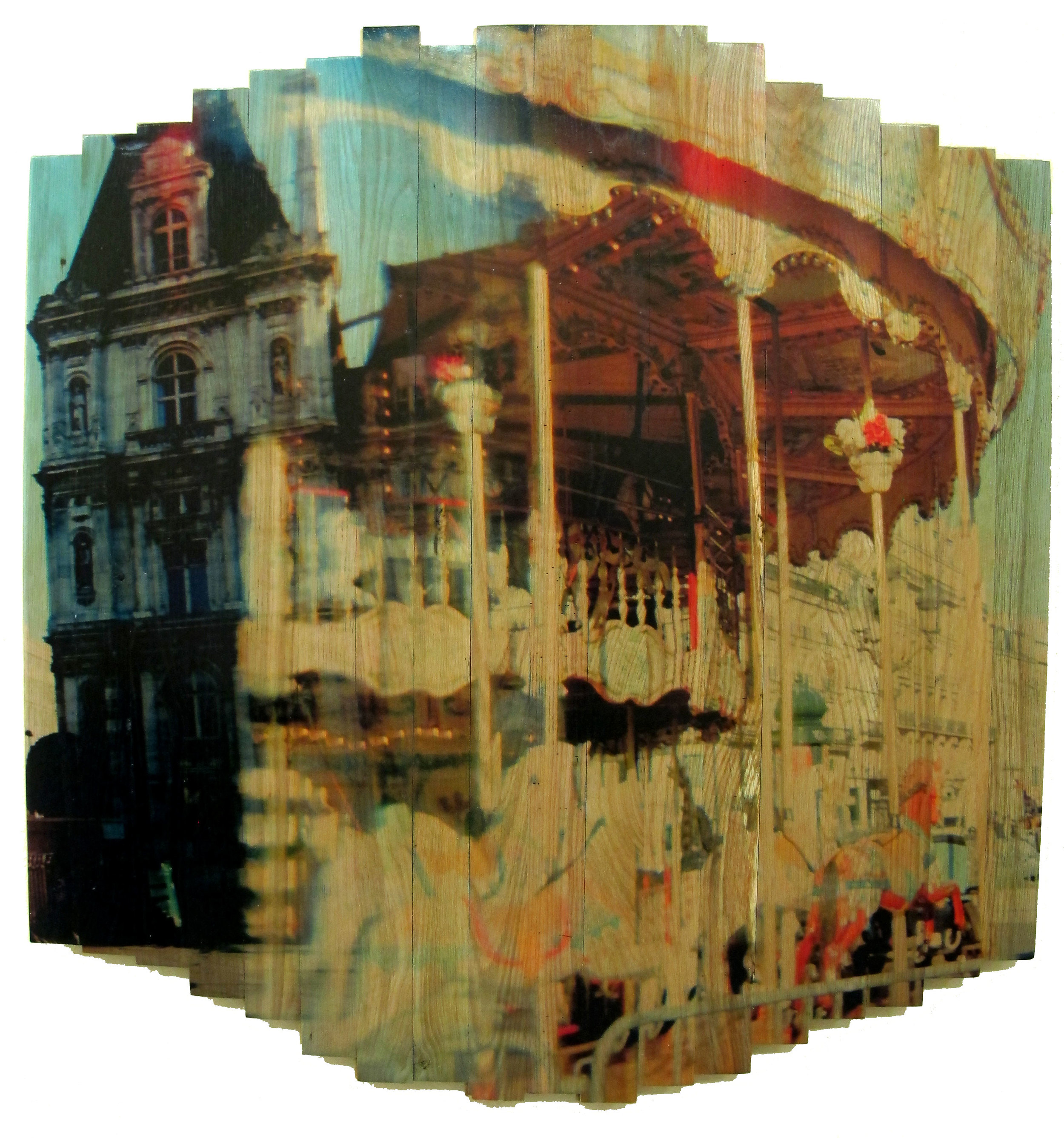 Paris Carousel II , 2016 c print on reclaimed wood floor 46 x 41 x 1.5 in / 117x105x4 cm  Unique