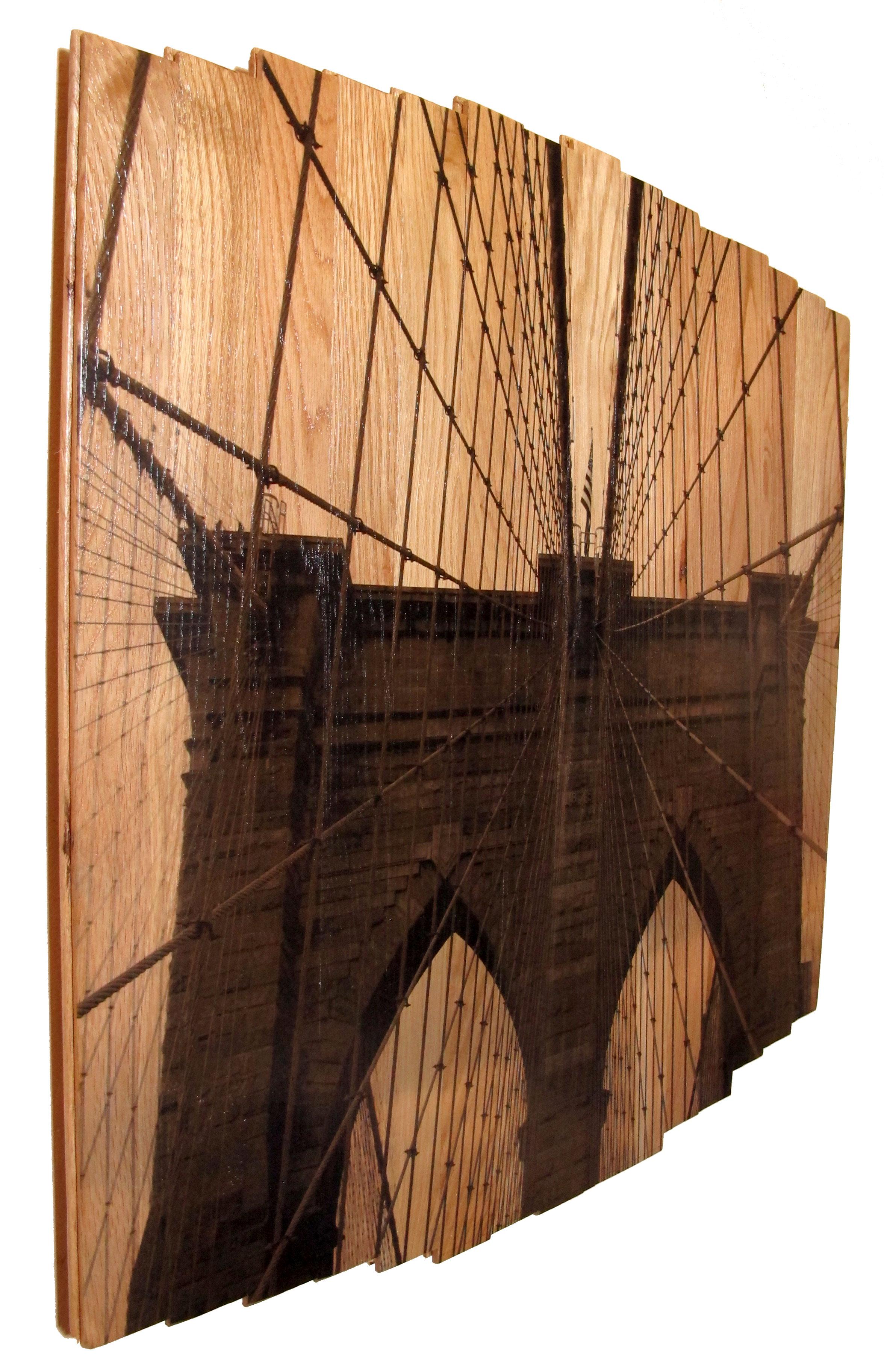 Brooklyn Bridge I,  2016 c print on reclaimed wood floor 34 x 34 x 1.5 in / 86 x 86 x 4 cm  Unique