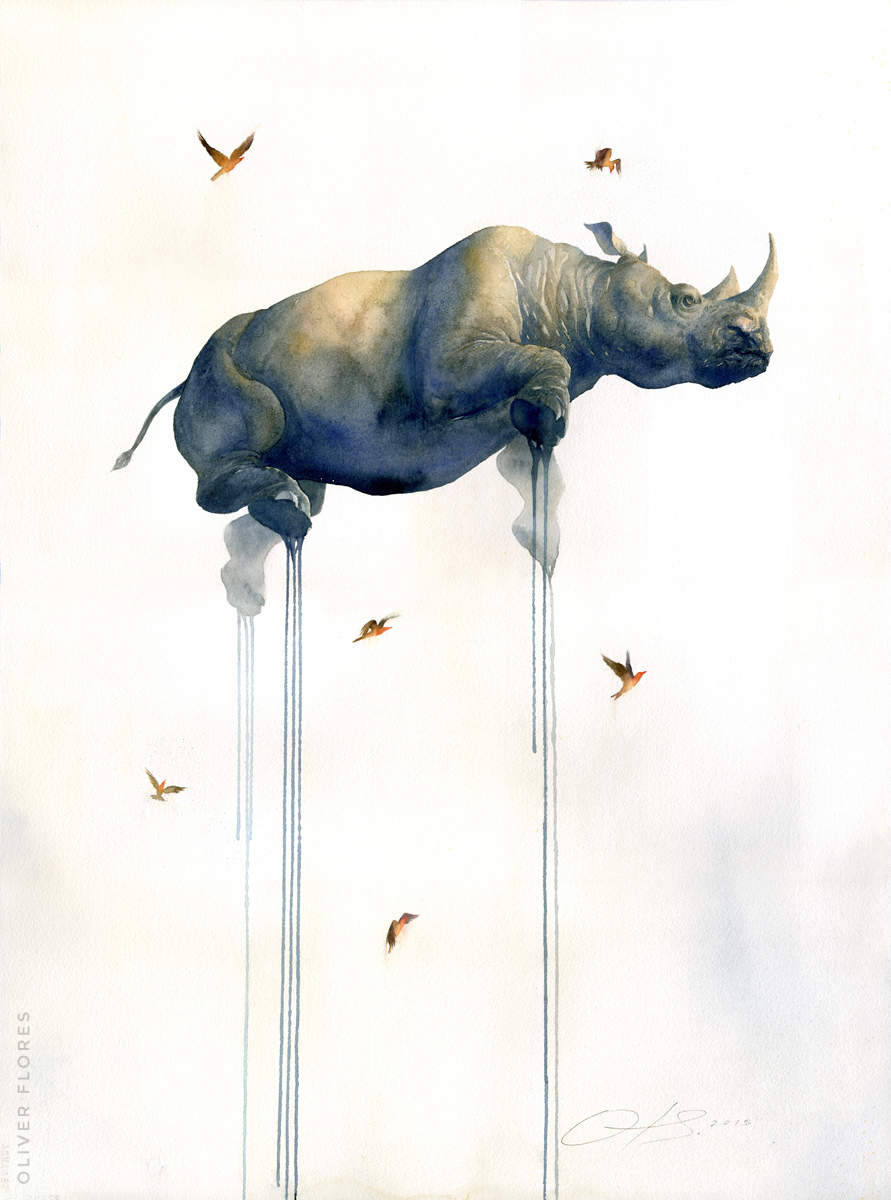 Rhino - Journey No 2  - 2016 - Charcoal and watercolour on paper - 28x20 in / 70x50 cm - SOLD
