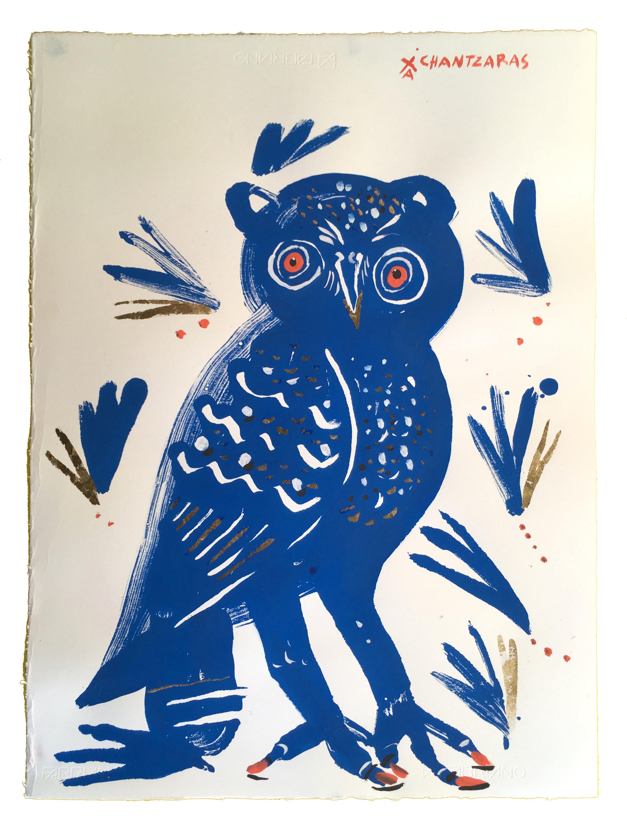 "Owl 11 - Blue Arkadios  Acrylic and watercolour on Fabriano paper, Unique Artwork: 30"" x 24"" / 76x 60 cm - custom white box frame"