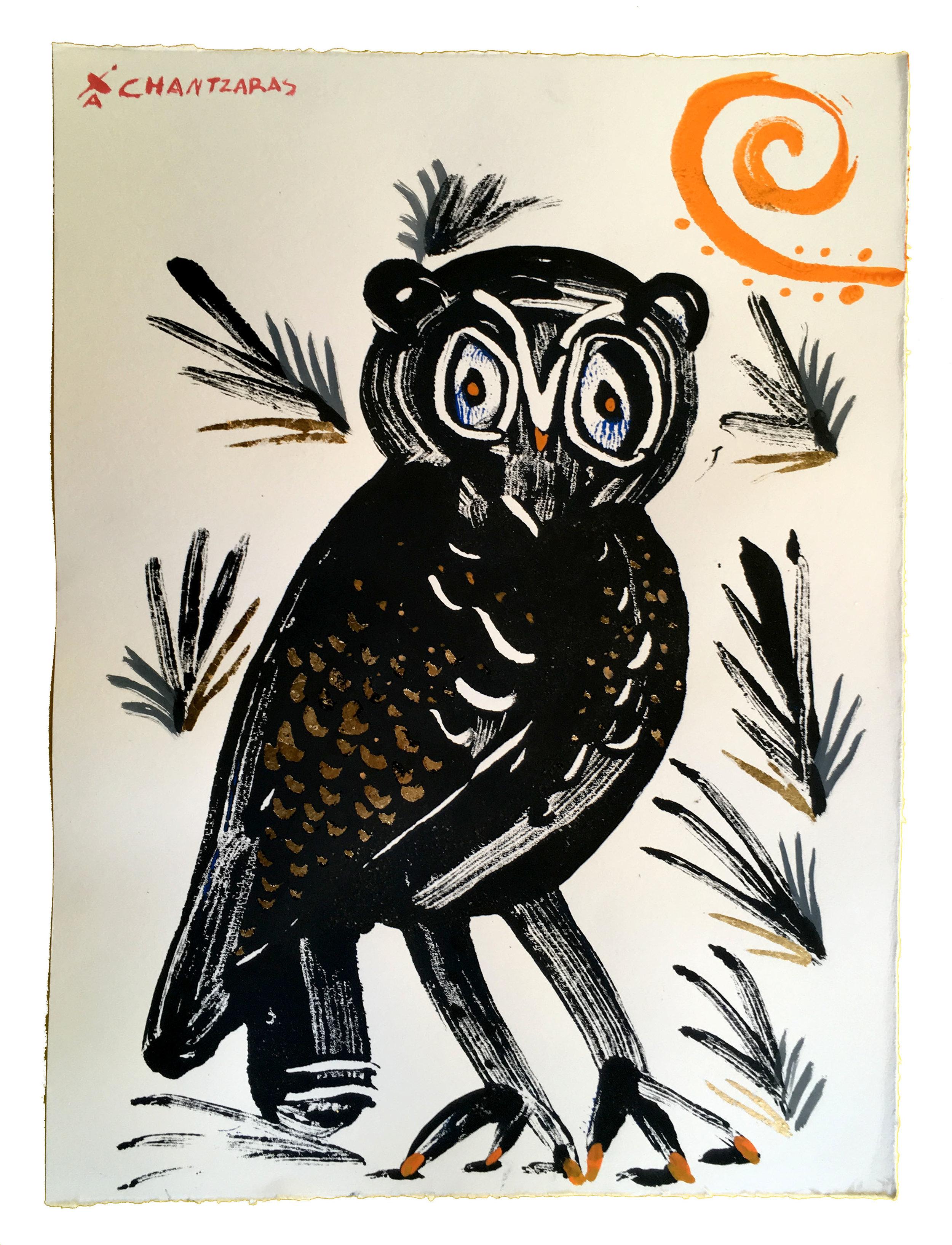 """Owl 10 - Black Philo  Acrylic and watercolour on Fabriano paper, Unique Artwork: 30"""" x 24"""" / 76x 60 cm - custom white box frame"""