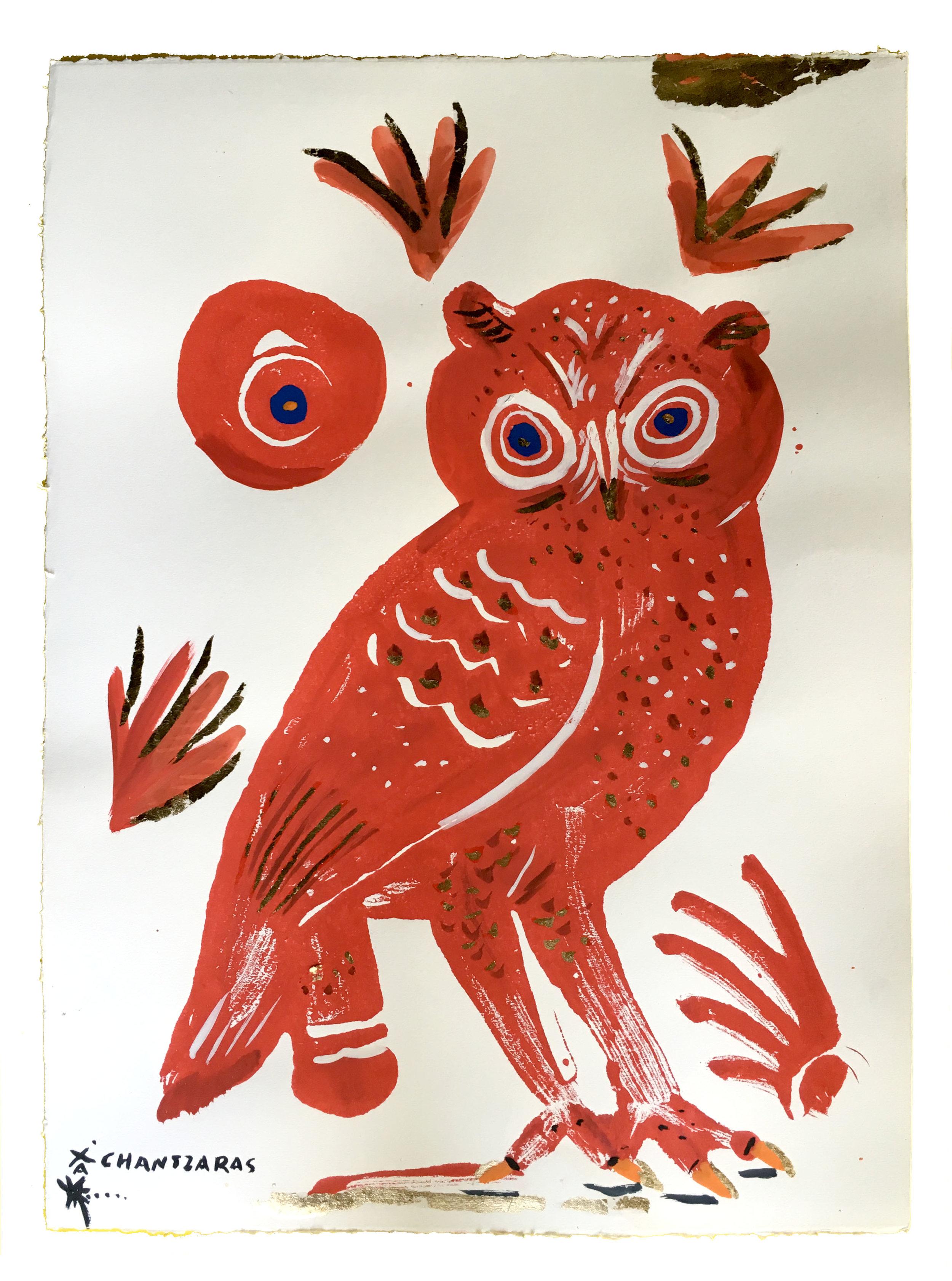 "Owl 13 - Red Zoe  Acrylic and watercolour on Fabriano paper, Unique Artwork: 30"" x 24"" / 76x 60 cm - custom white box frame"