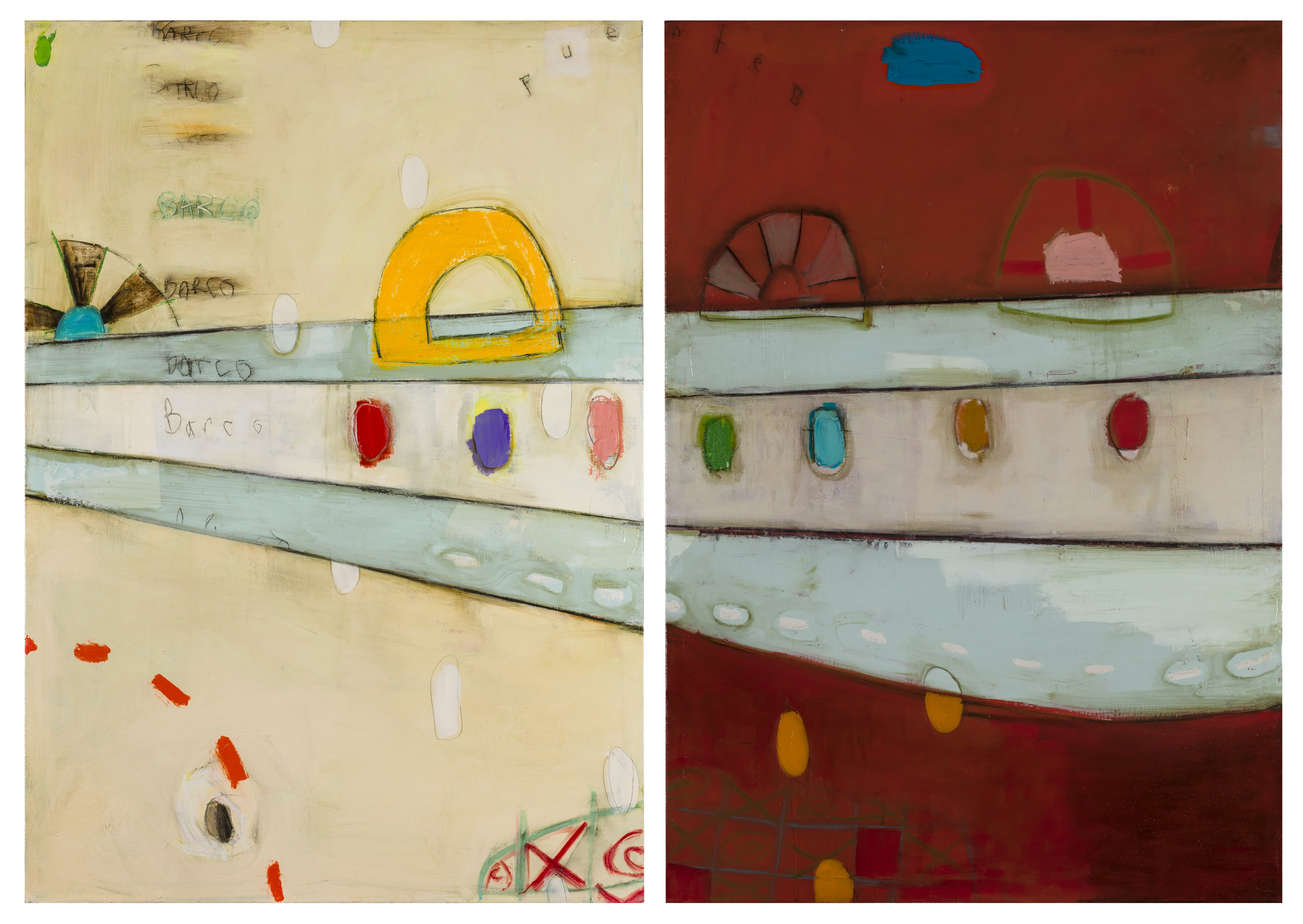"""Boats and Bridges - dyptich  Oil and enamel on canvas - 2017 - 39"""" x 55"""" / 100 x 140 cm"""