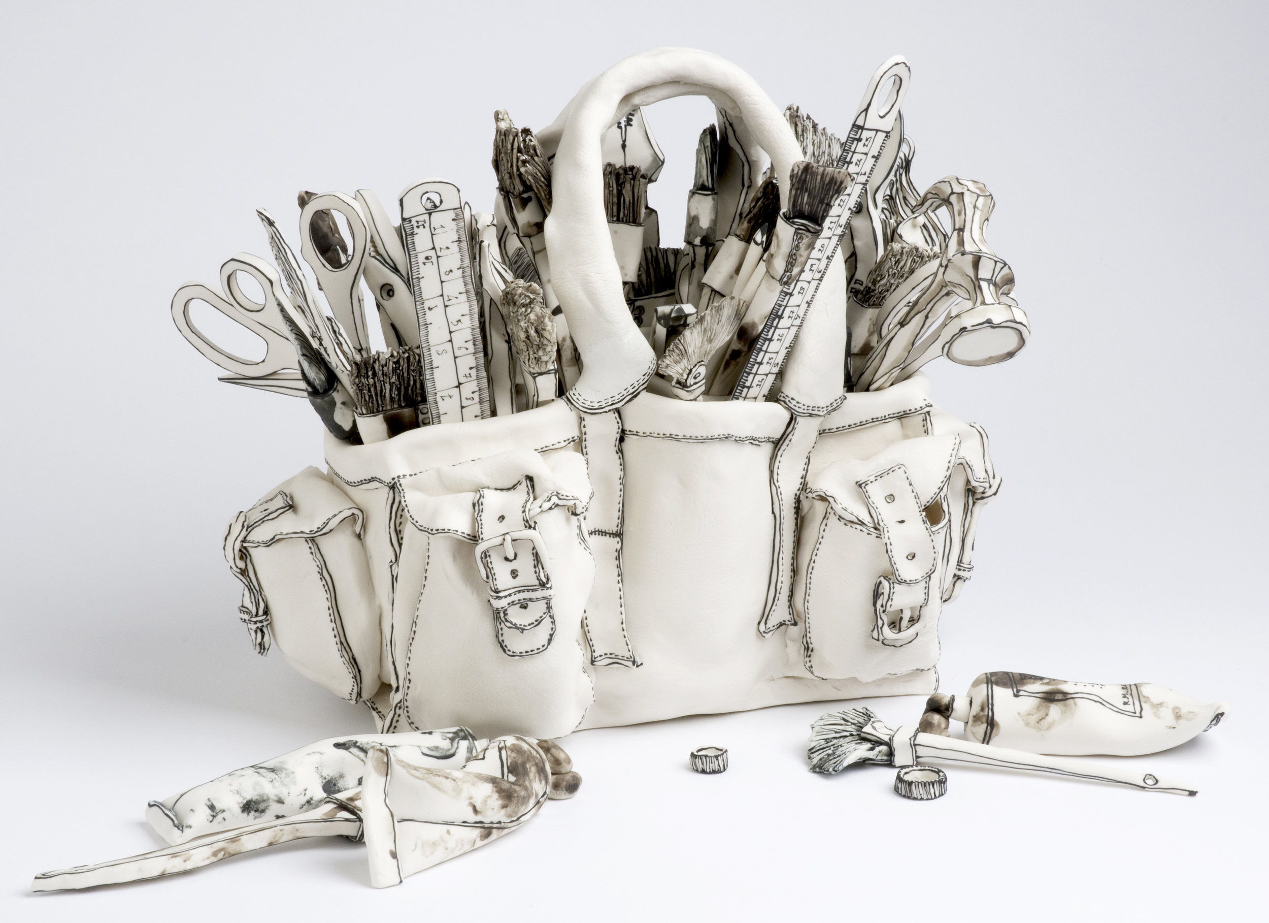 Katharine Morling  - Toolbox  - 2017 - Porcelain and Black Stain - 16 x 8 x 8 inches / 40 x 20 x 20 cm
