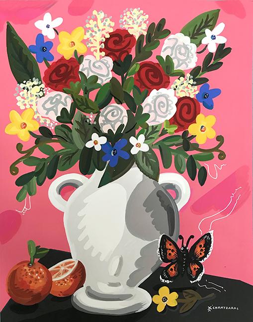 Apostolos Chantzaras -  Roses For You  - Acrylic, mixed media on paper -  Dim: 100 x 80 cm /white box frame.