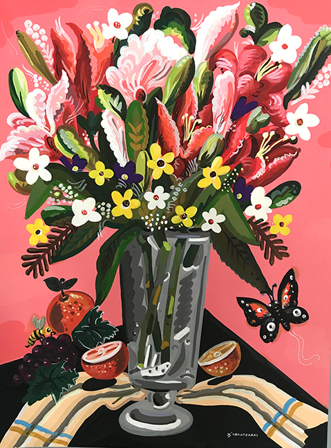Apostolos Chantzaras -  Everything In Abundance  - Acrylic, mixed media on paper -    Dim: 140 x 105 cm /white box frame.