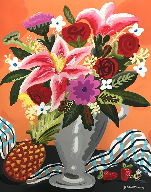 Apostolos Chantzaras -  Sweet Anana  - Acrylic, mixed media on paper -  Dim: 100 x 80 cm /white box frame.