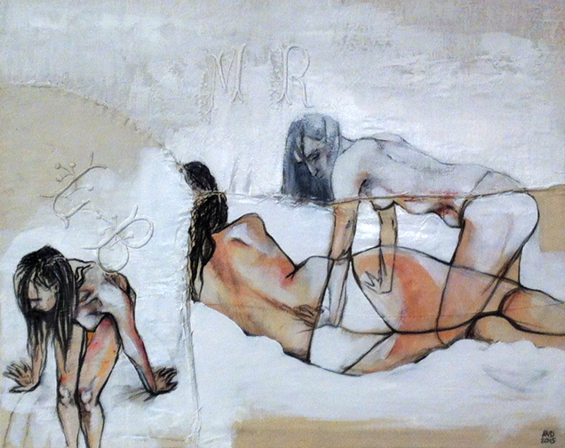 Garance Grand Format I  - Fabric, sheets, stitching, charcoal, mixed media on canvas - 16 x 20 in / 40 x 50 cm
